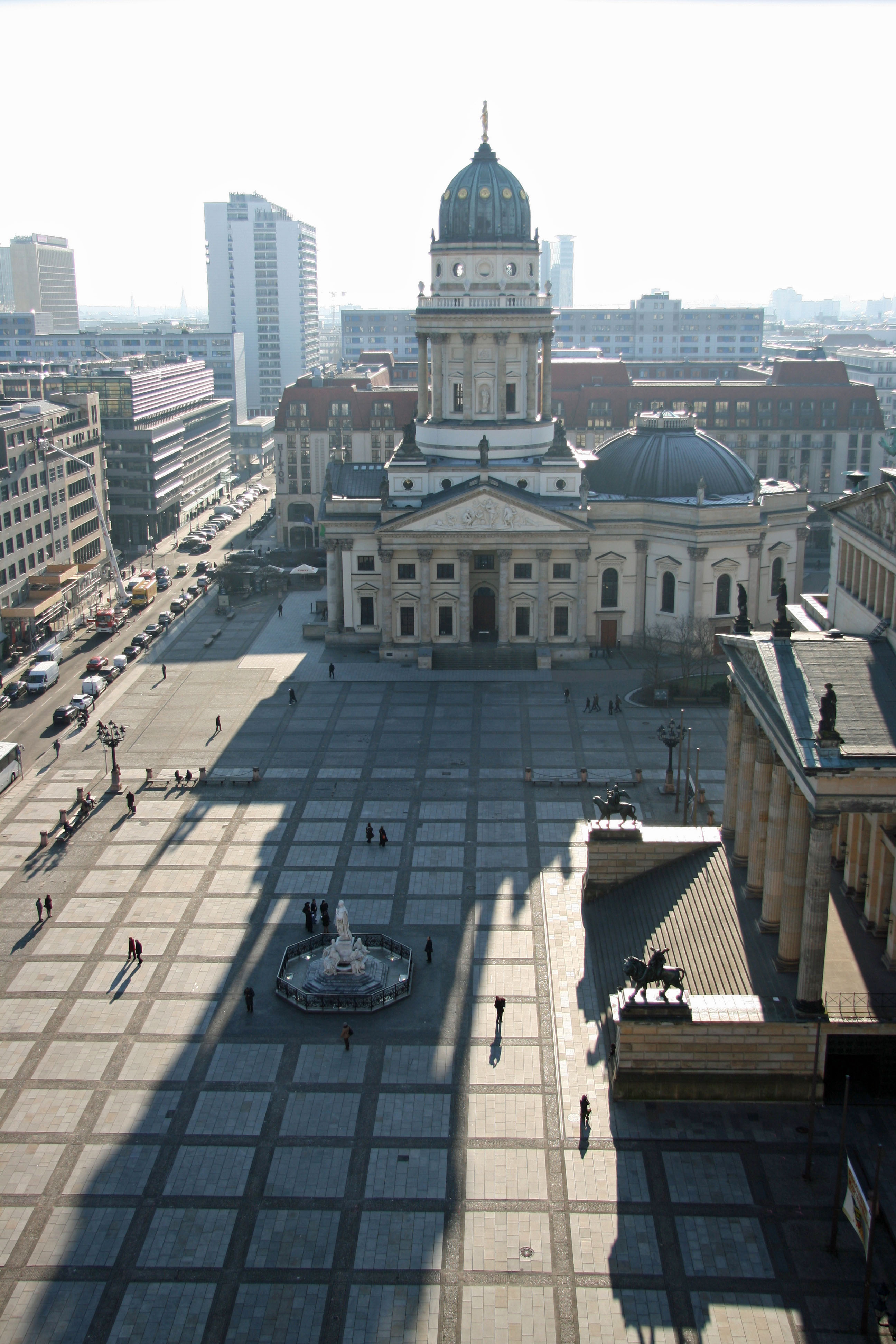 The view across the Gendarmenmarkt from the Französischer Dom (French Cathedral) to the Deutscher Dom (German Cathedral) in Berlin