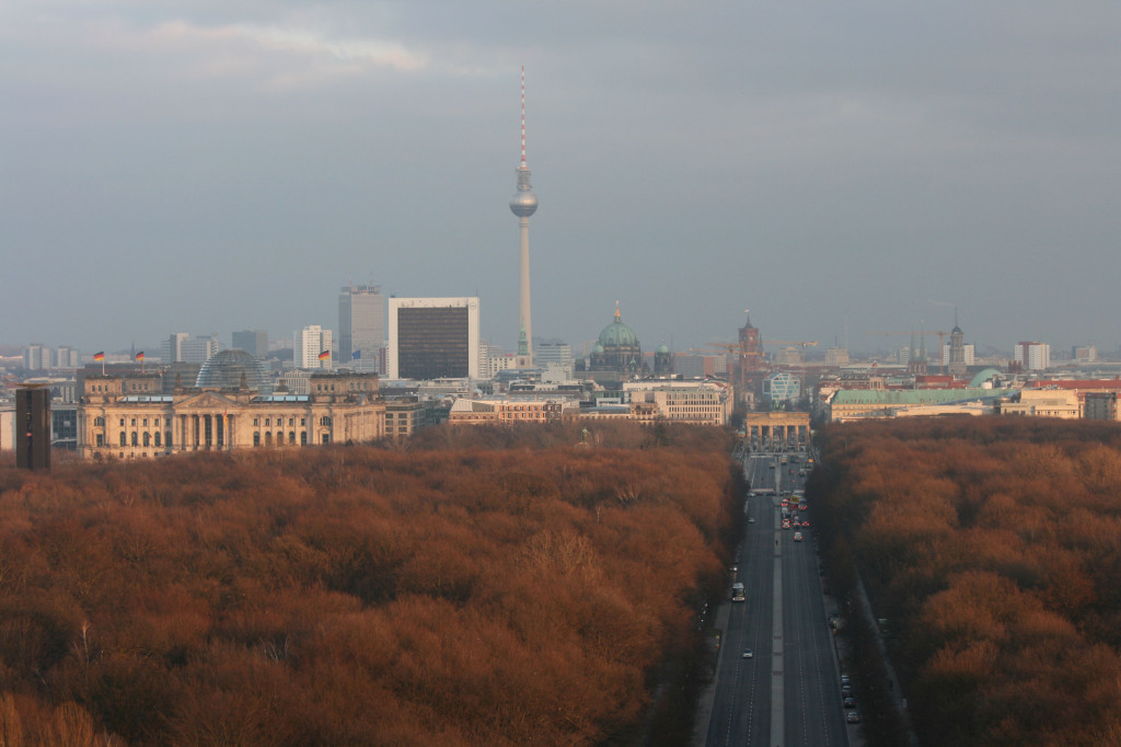 The view along Strasse des 17 Juni to the Brandenburg Gate (Brandenburger Tor) and Mitte from the Siegessäule (Victory Column) in Berlin