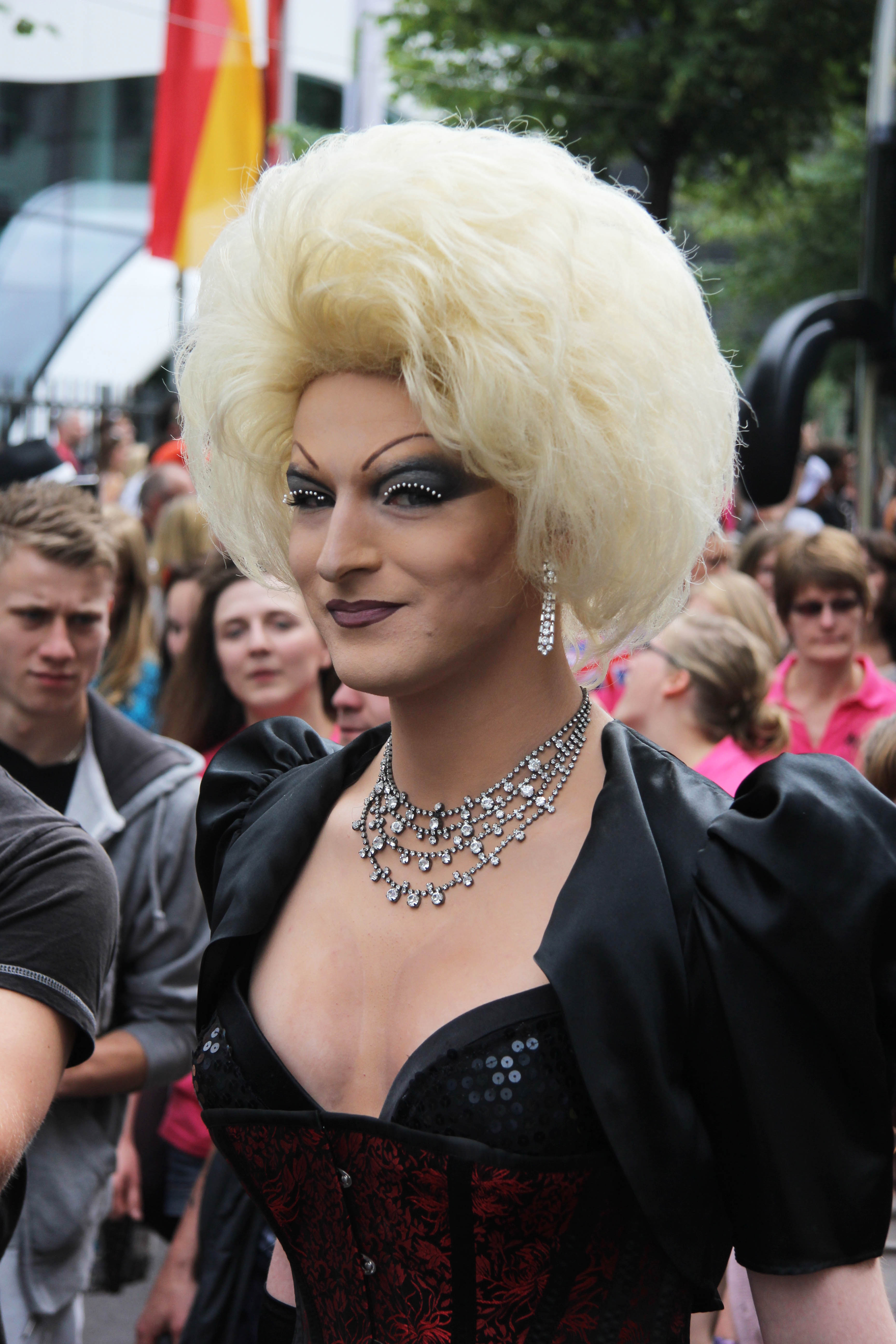(Transvision) Vamp: A reveller at the Christopher Street Day (CSD) Parade in Berlin