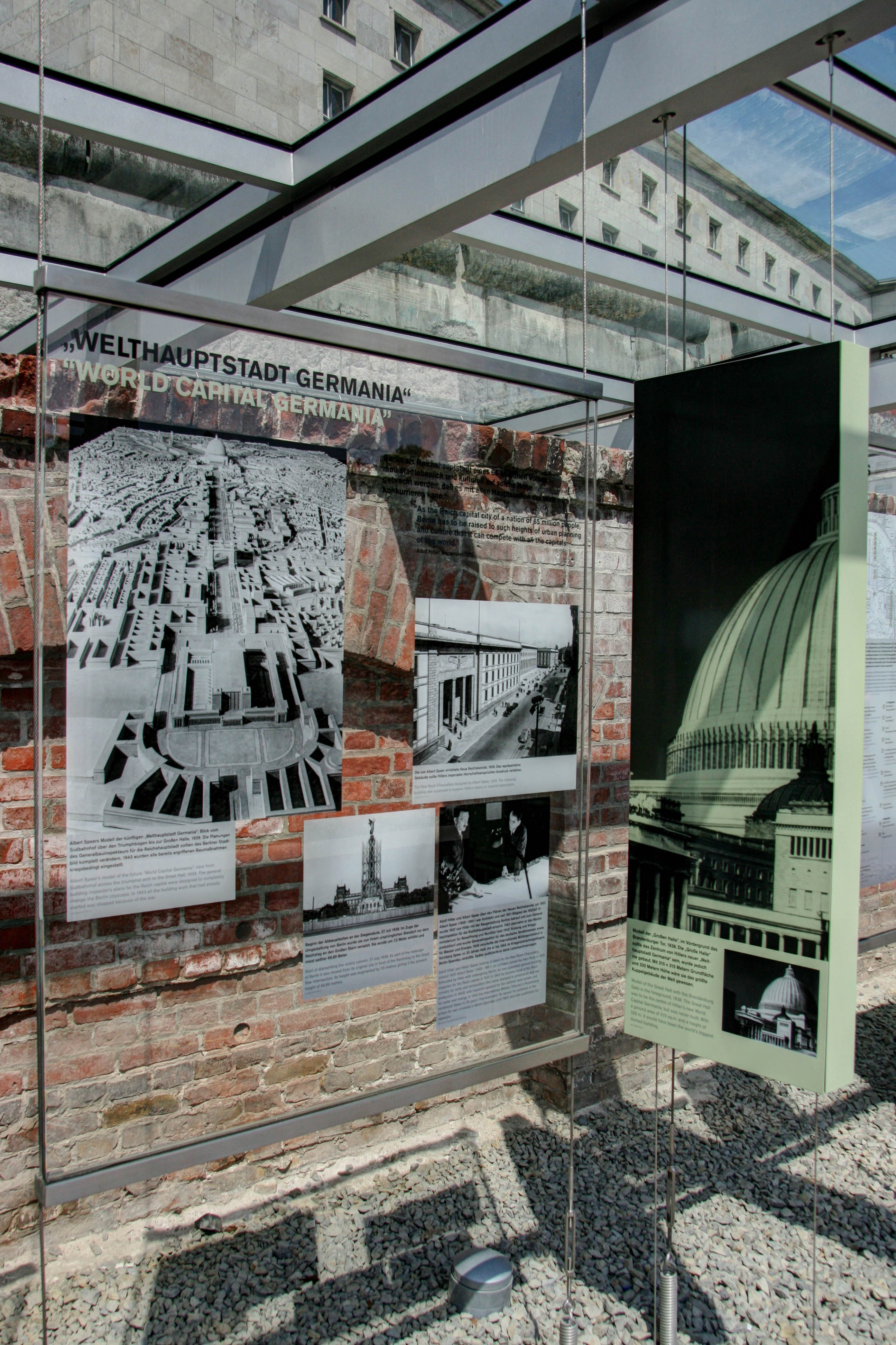 A display about Hitler and Speer's plans for Welthaupstadt Germania at Topographie des Terrors (Topography of Terror) in Berlin