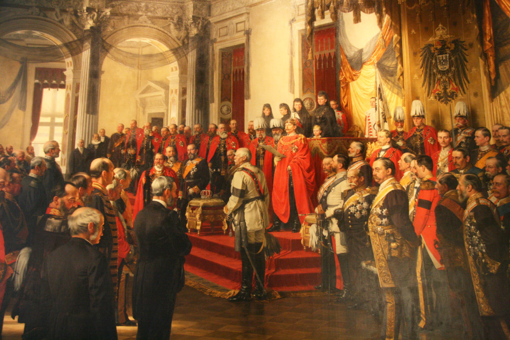 A painting of the inauguration of parliament by Wilhelm II in the White Hall of the Berlin Palace in June 1888 by Alexander von Werner on display at the Deutsches Historisches Museum (German Historical Museum)