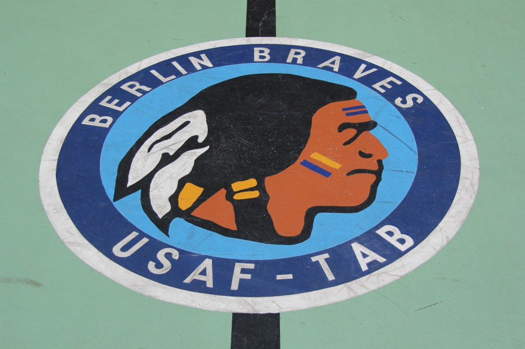 The logo of the Berlin Braves in the centre of the basketball court at Tempelhof Airport in Berlin