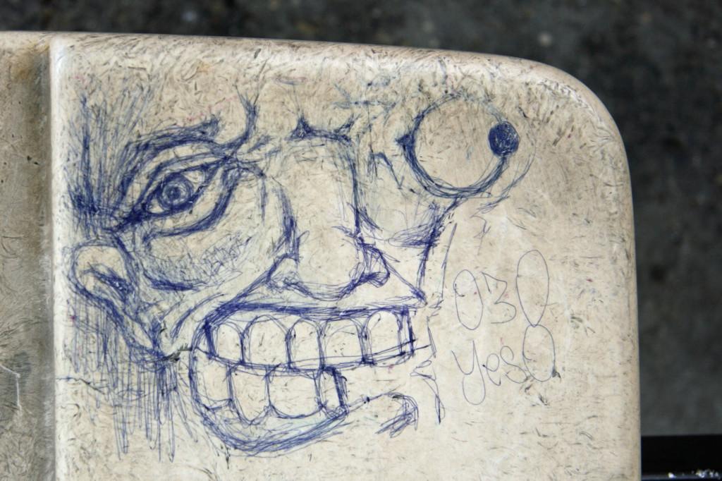 Biro on Bus Stop seat - Street Art by Unknown Artist in Berlin