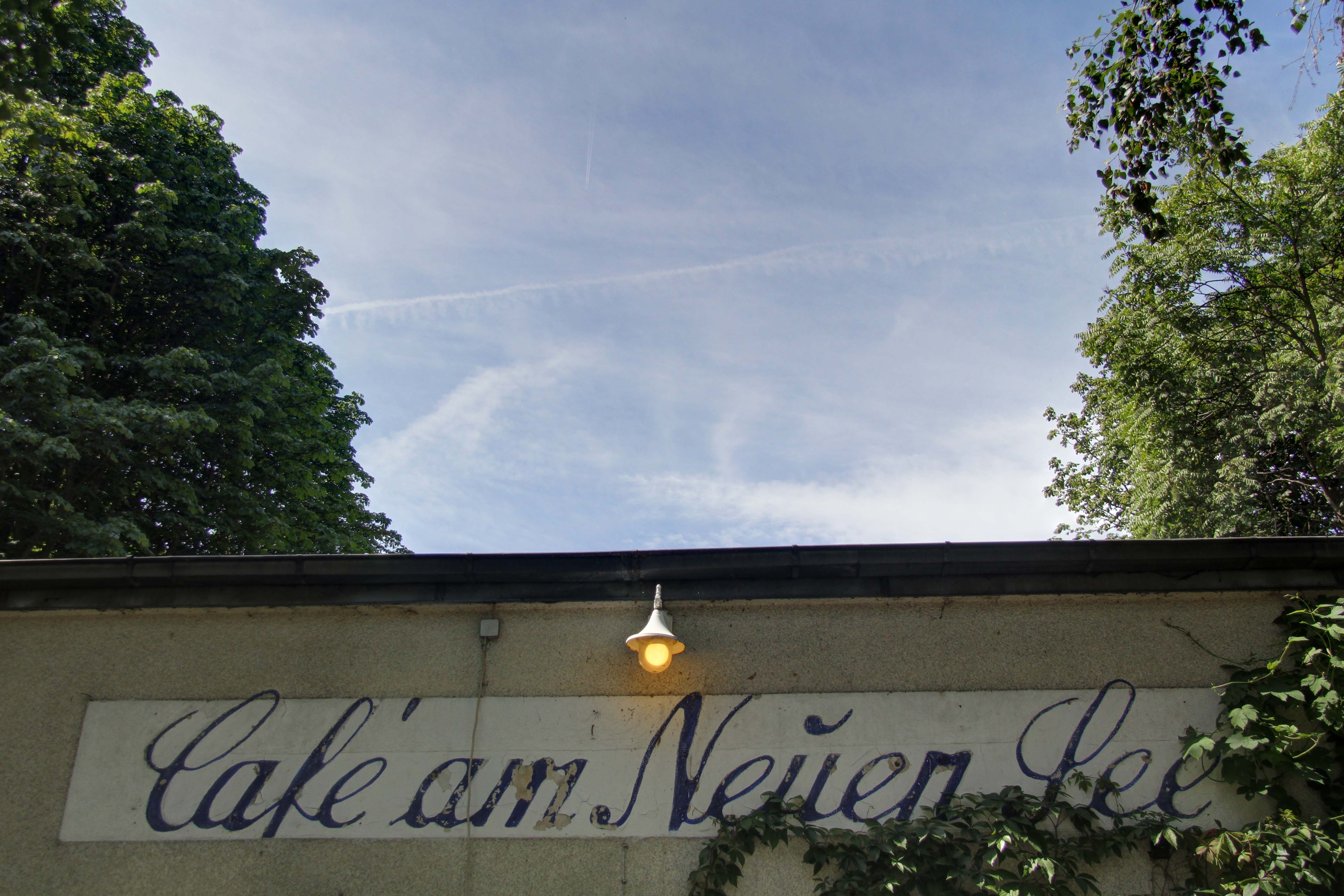 The sign of Café am Neuen See in the Tiergarten in Berlin