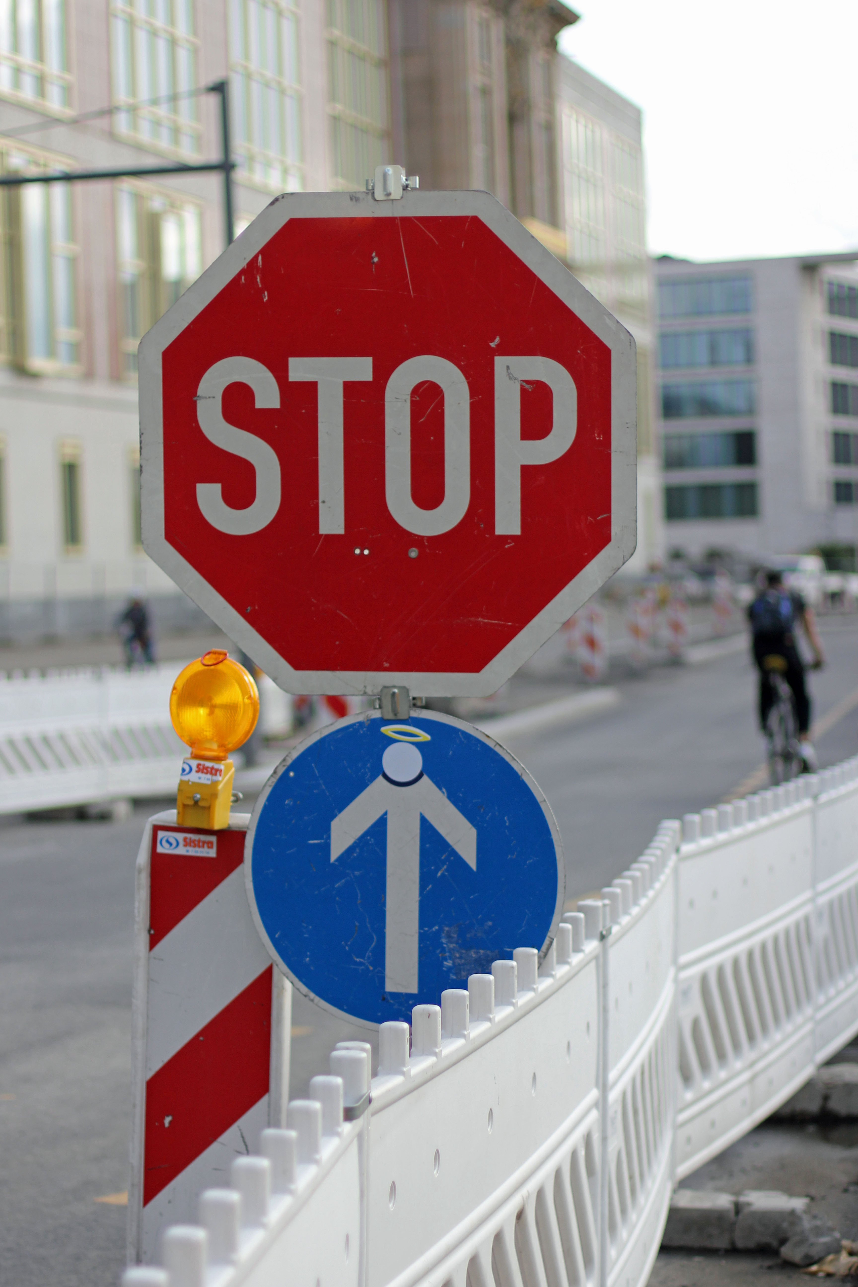 STOP Angel - Street Art by CLET (Clet Abraham) on a One Way street sign in Berlin