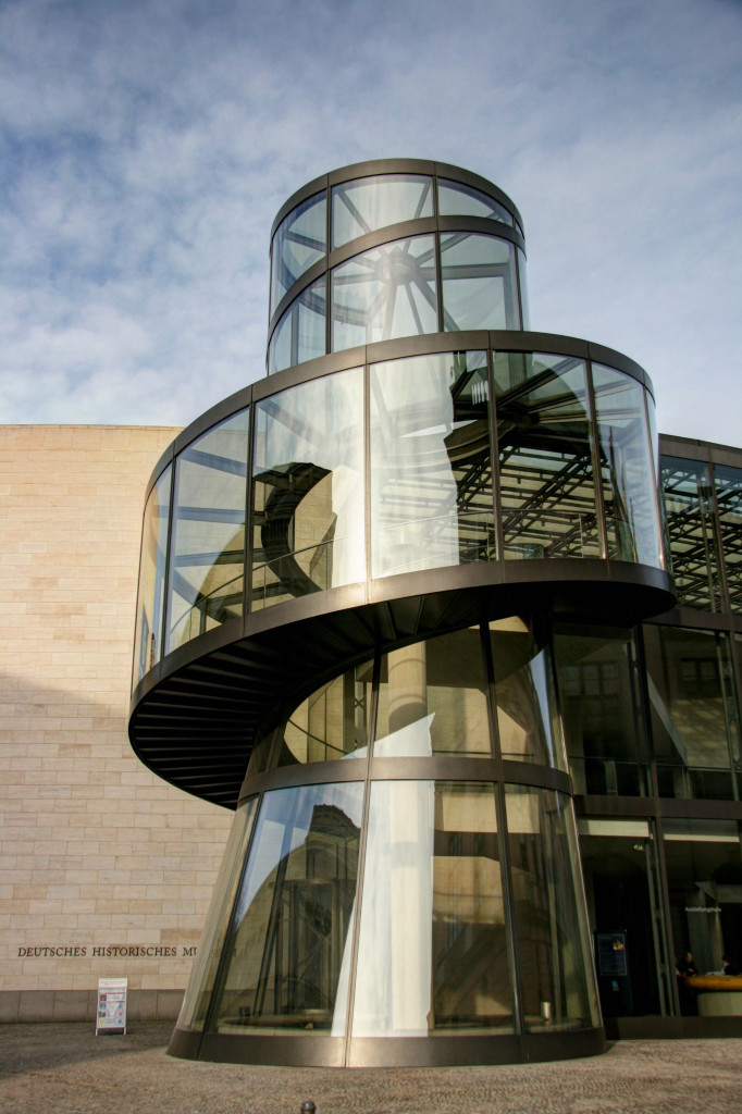 The glass and steel encased spiral staircase of the Deutsches Historisches Museum (German Historical Museum) in Berlin, designed by the architect I M Pei