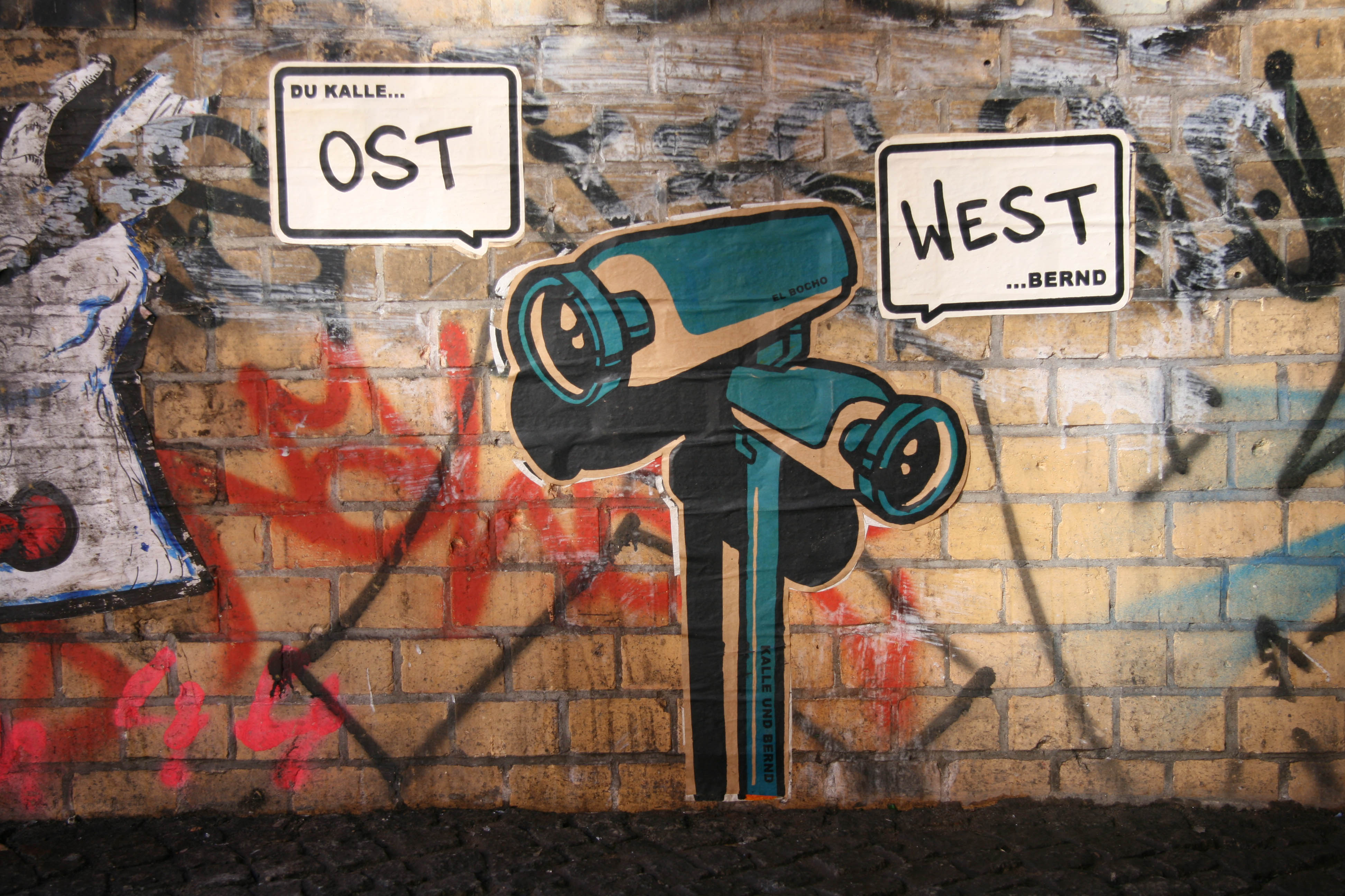 "Kalle und Bernd - ""Ost"" ""West"": Street Art by El Bocho in Berlin"