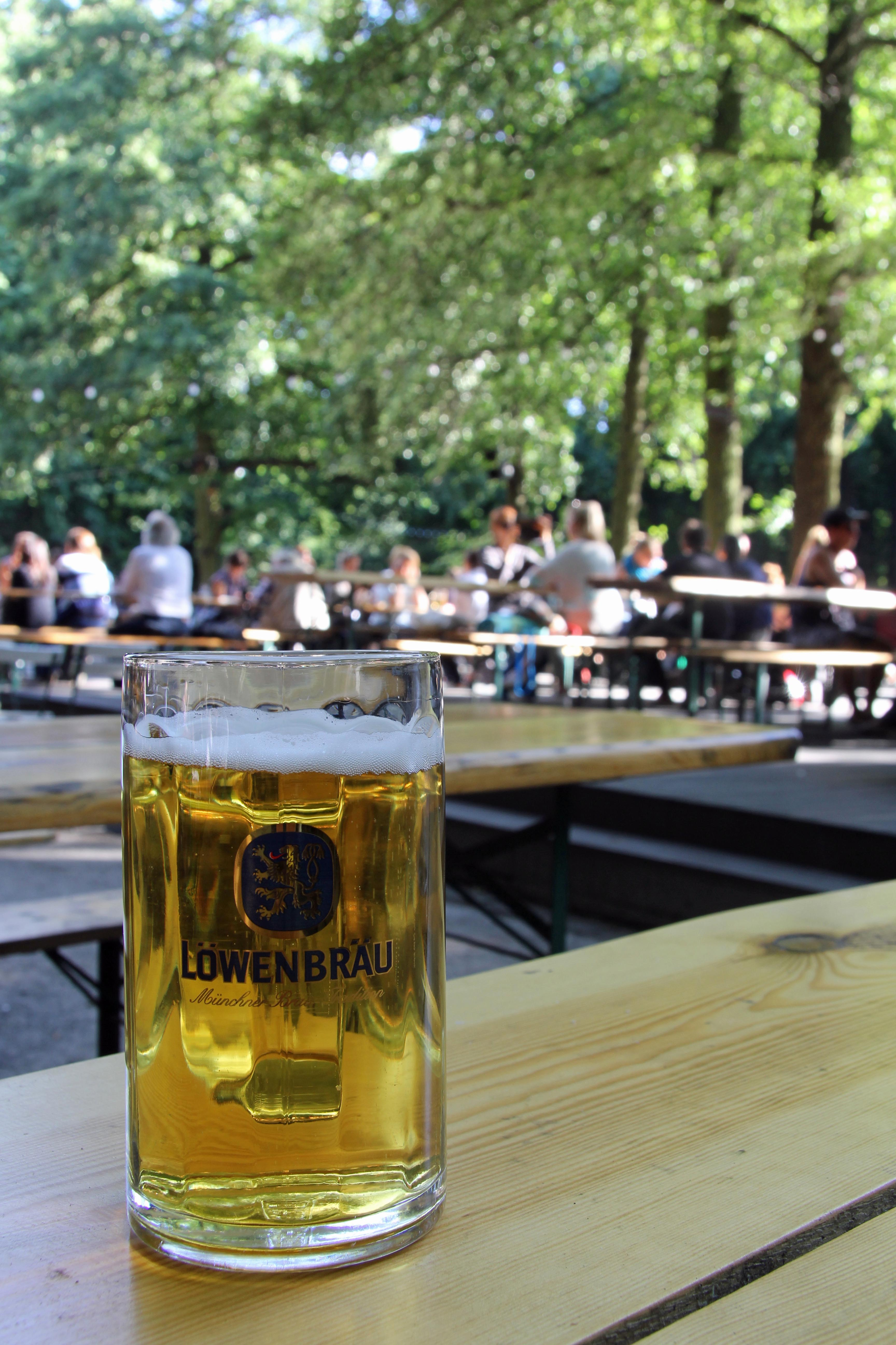 Löwenbräu at the Biergarten of Café am Neuen See in the Tiergarten in Berlin