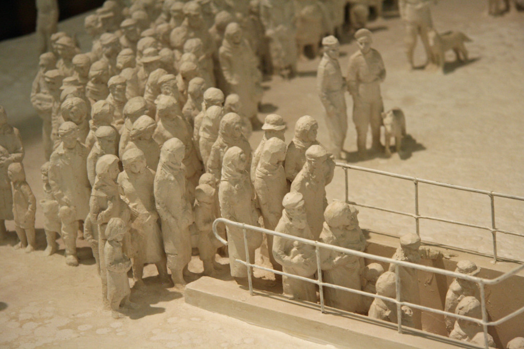 Prisoners are marched into the death chambers in a model of Auschwitz by Polish sculptor Mieczyslaw Stobierski at the Deutsches Historisches Museum (German Historical Museum) in Berlin