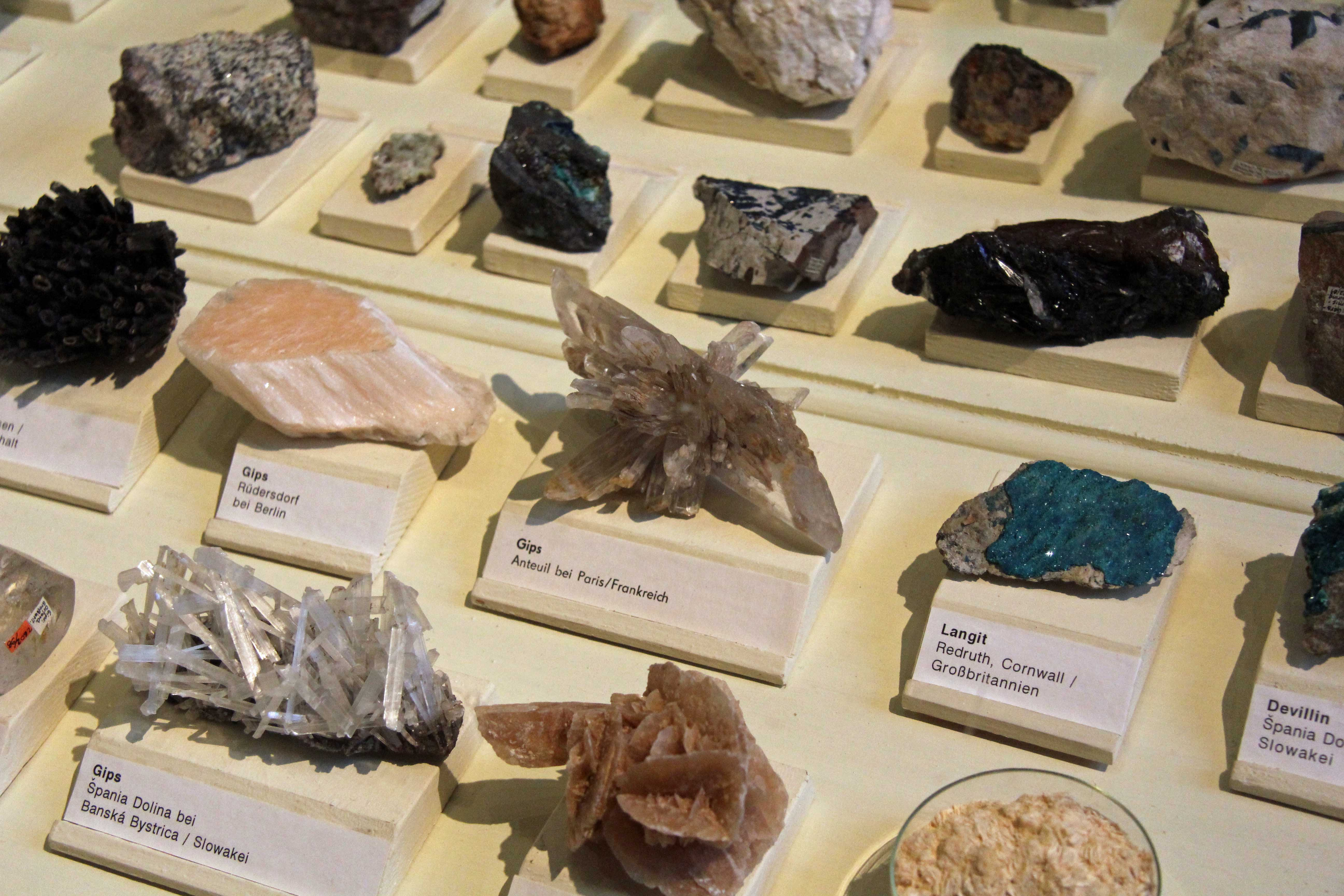 Just a few of the samples on display in the Minerals exhibition at the Museum für Naturkunde (Natural History Museum) in Berlin