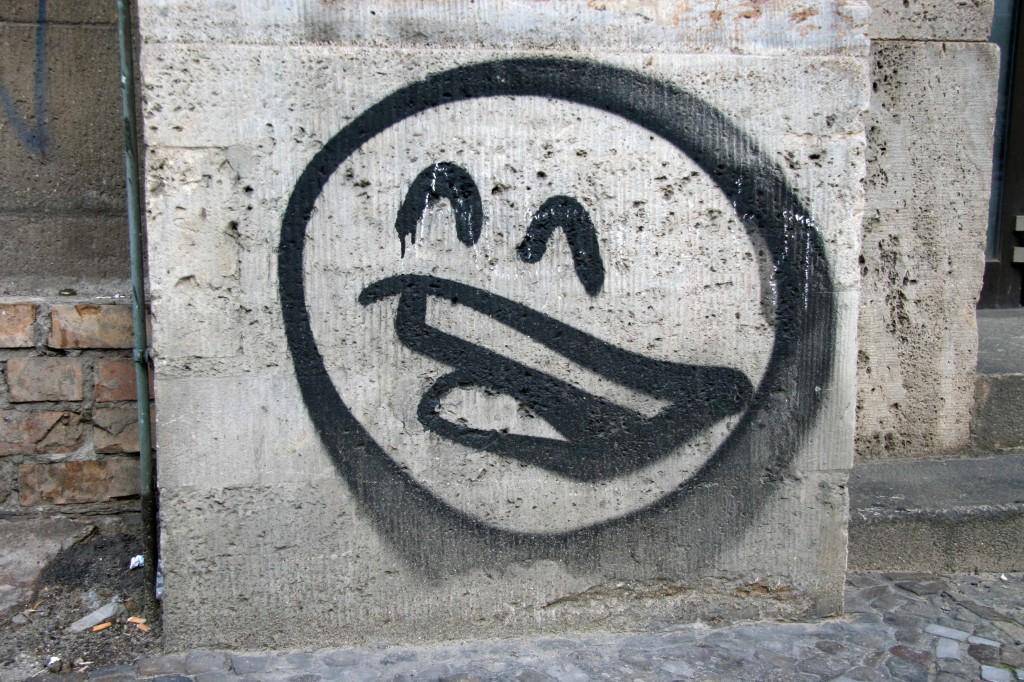 B&W Smiley: Street Art by Mein Lieber Prost (often shortened to Prost) in Berlin