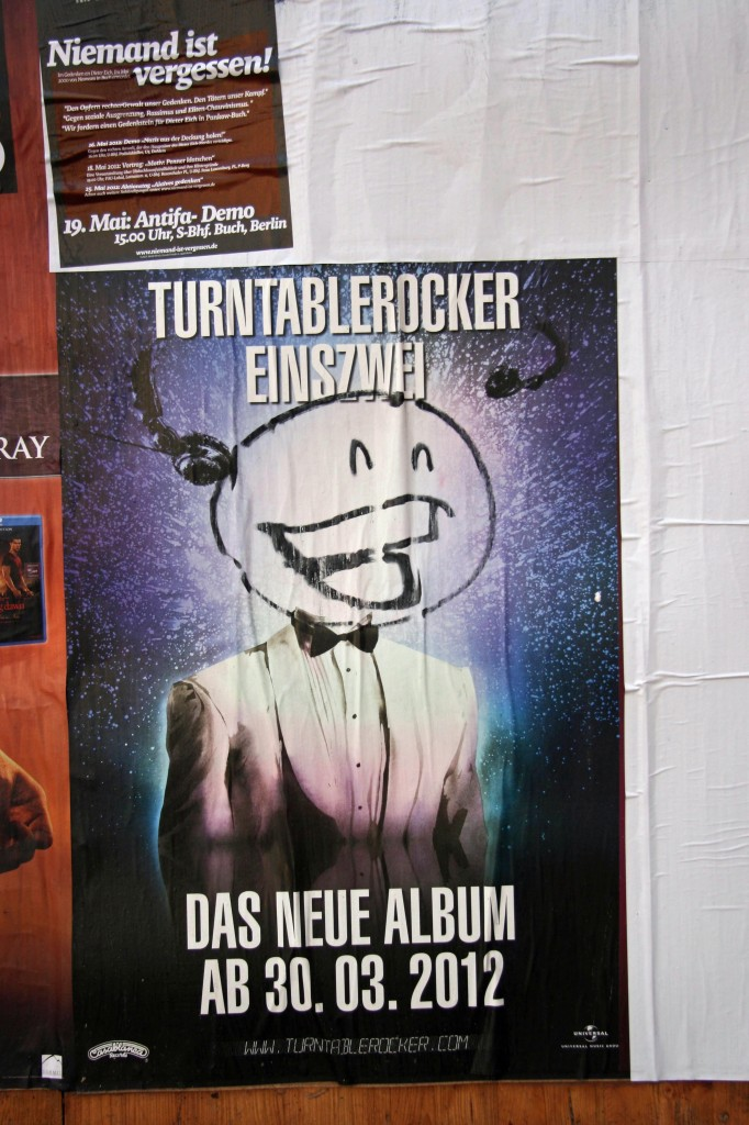 Poster Takeover: Street Art by Mein Lieber Prost (often shortened to Prost) on a poster advertising an album release in Berlin