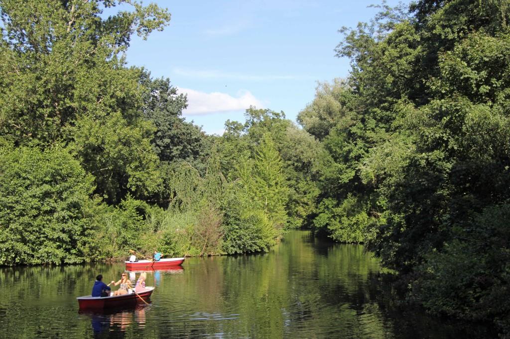 Rowing on the Neuer See in the Tiergarten in Berlin