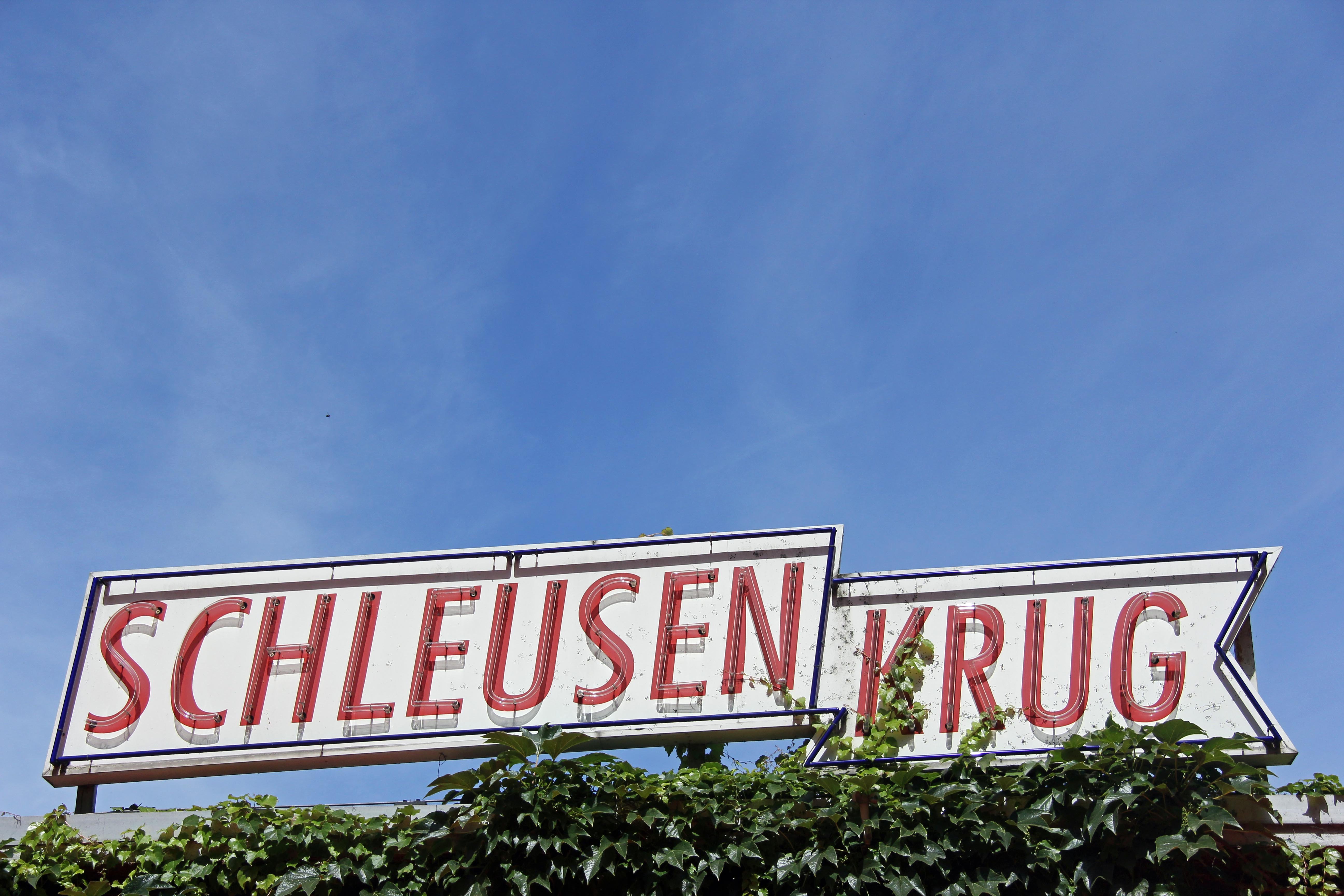 The sign of Schleusenkrug, a Biergarten in the Tiergarten in Berlin