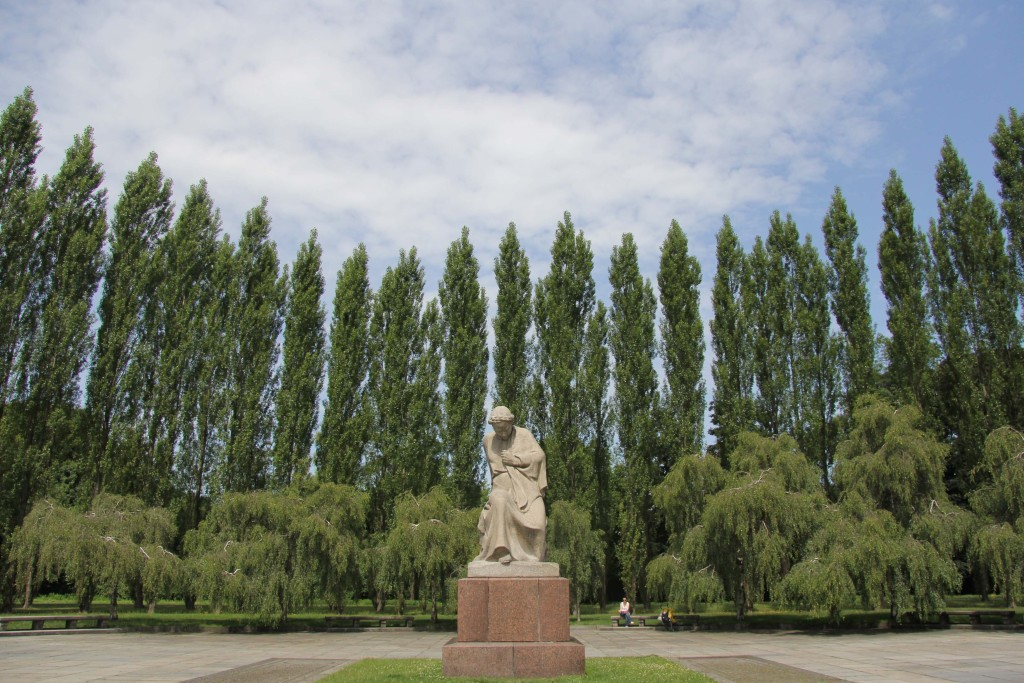 The statue of Mother Russia at the Soviet War Memorial in Teptower Park in Berlin
