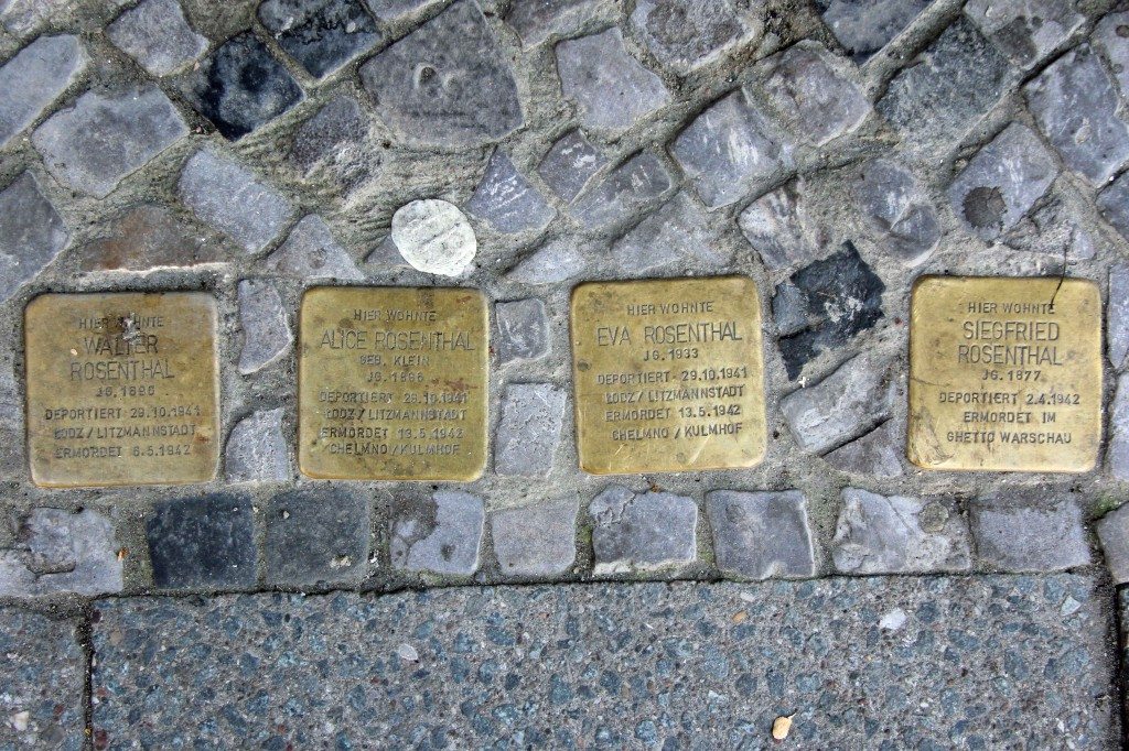 Stolpersteine 116: In memory of Walter Rosenthal, Alice Rosenthal, Eva Rosenthal and Siegfried Rosenthal (Kantstrasse 132) in Berlin