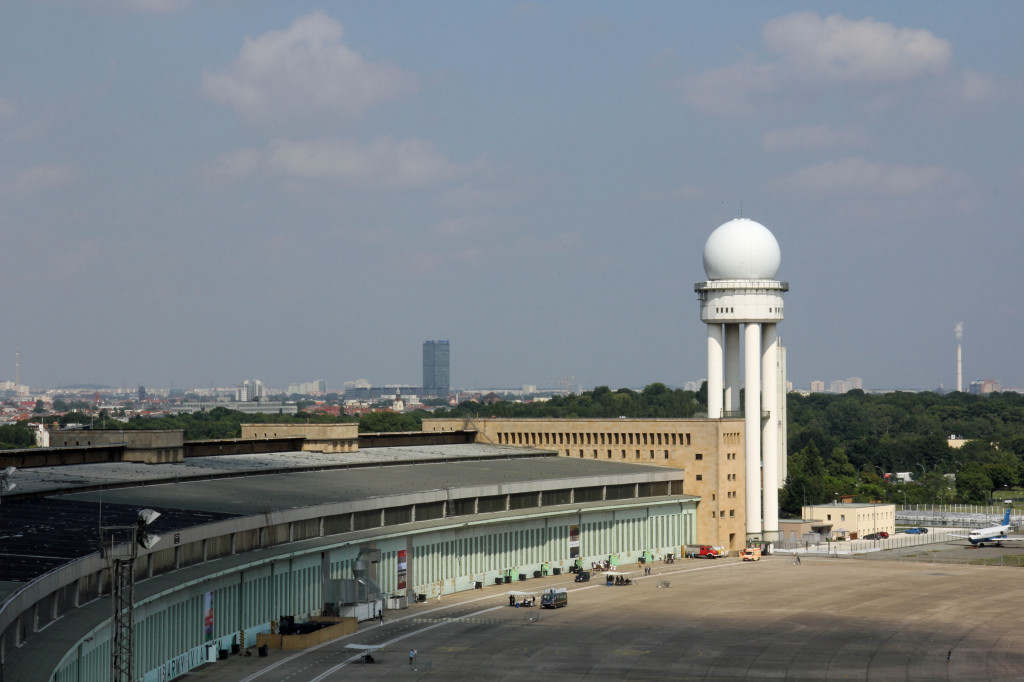 The view along the roof to a radar dome at Tempelhof Airport in Berlin