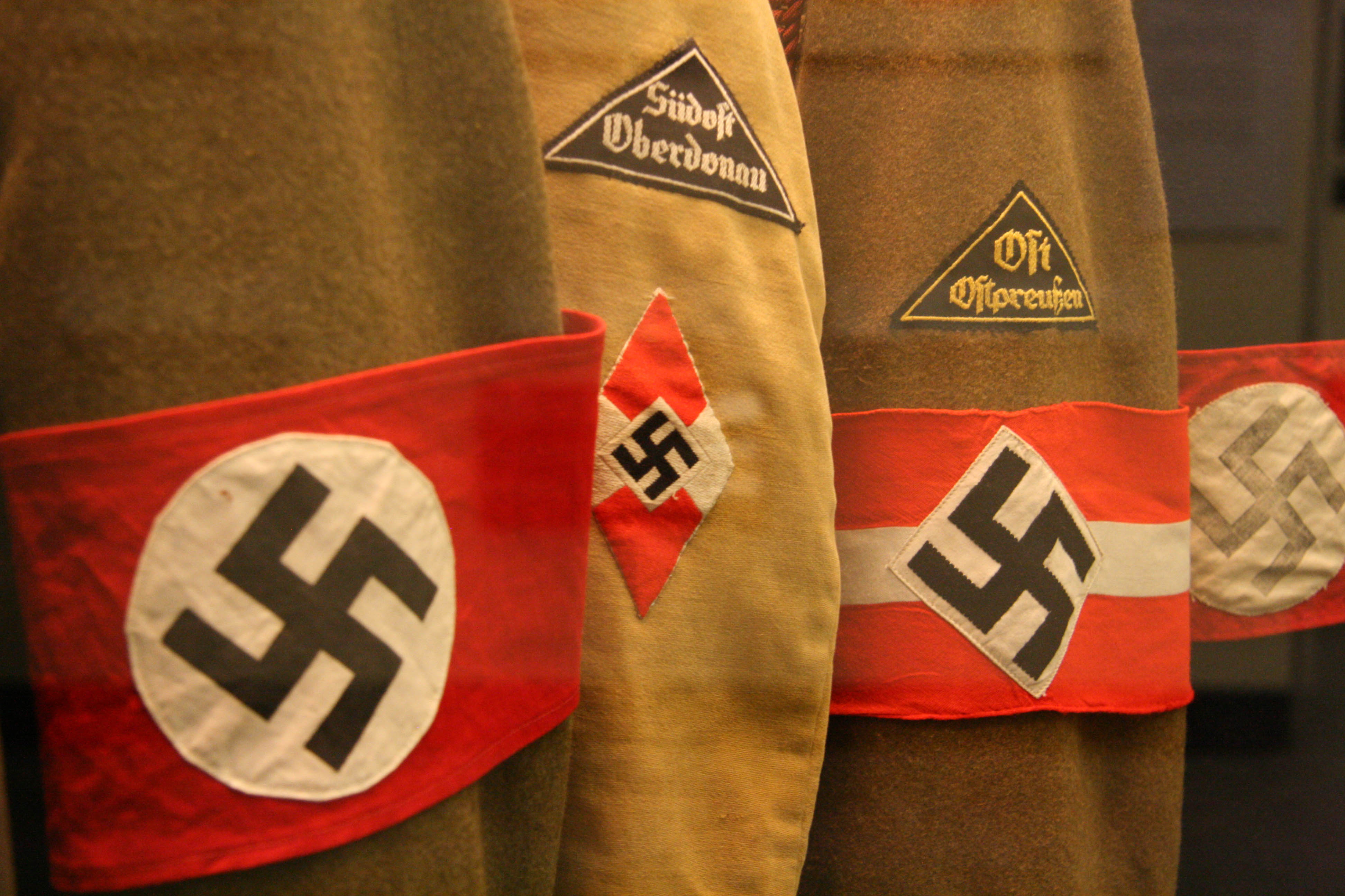 Uniforms with Swastika armbands on display at the Deutsches Historisches Museum (German Historical Museum) in Berlin