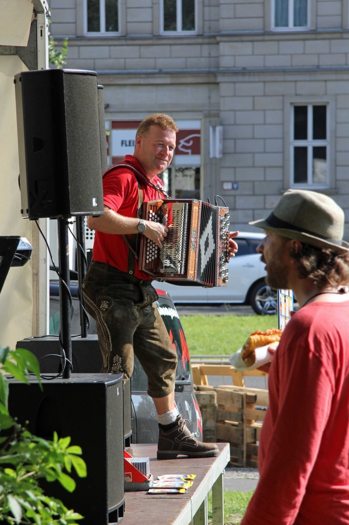 An Accordion Player entertains the crowd at the International Berlin Beer Festival (Internationales Berliner Bierfestival)