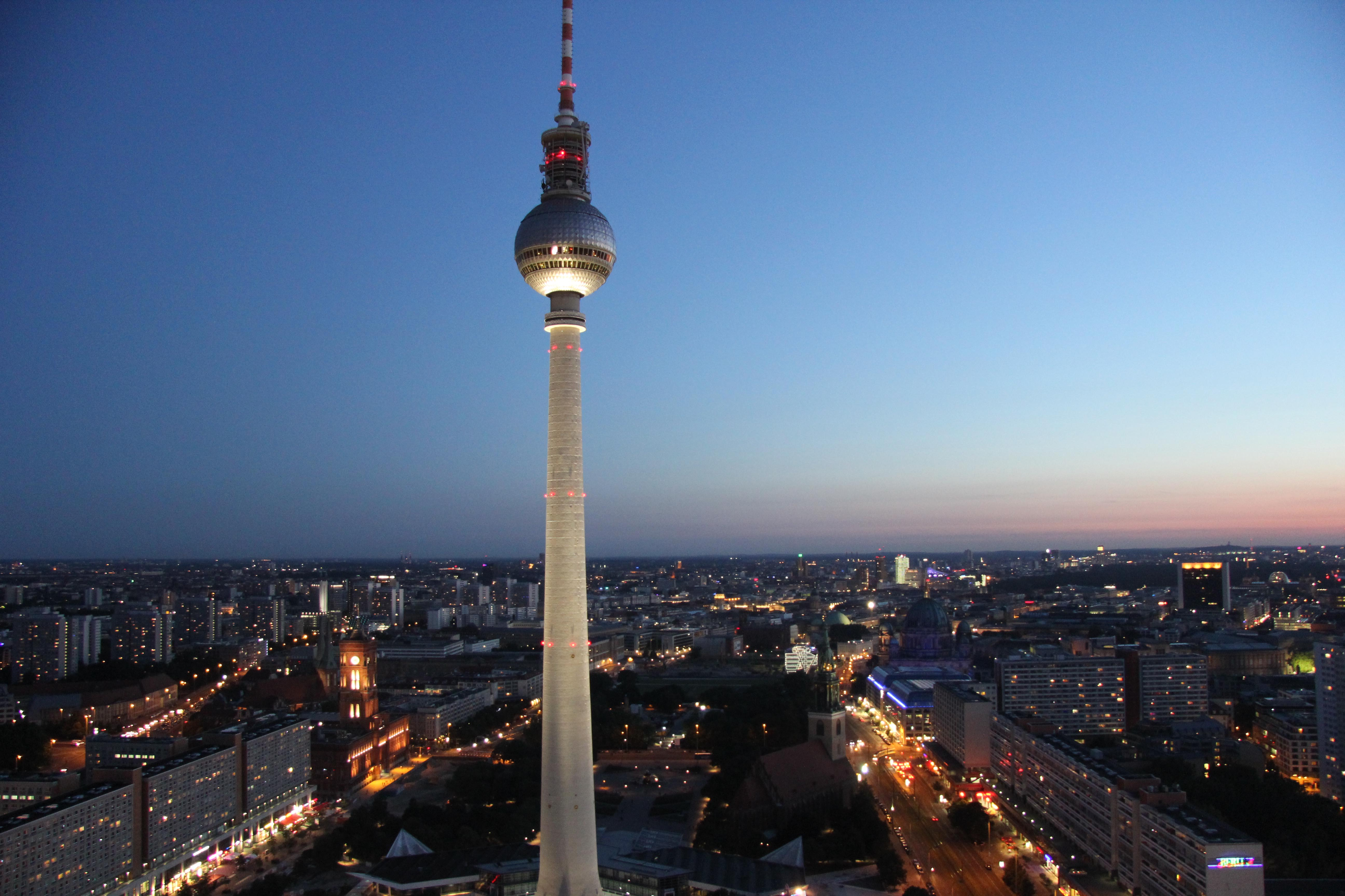 Berlin at night: The view from the Sun Terrace of the Park Inn on Alexanderplatz