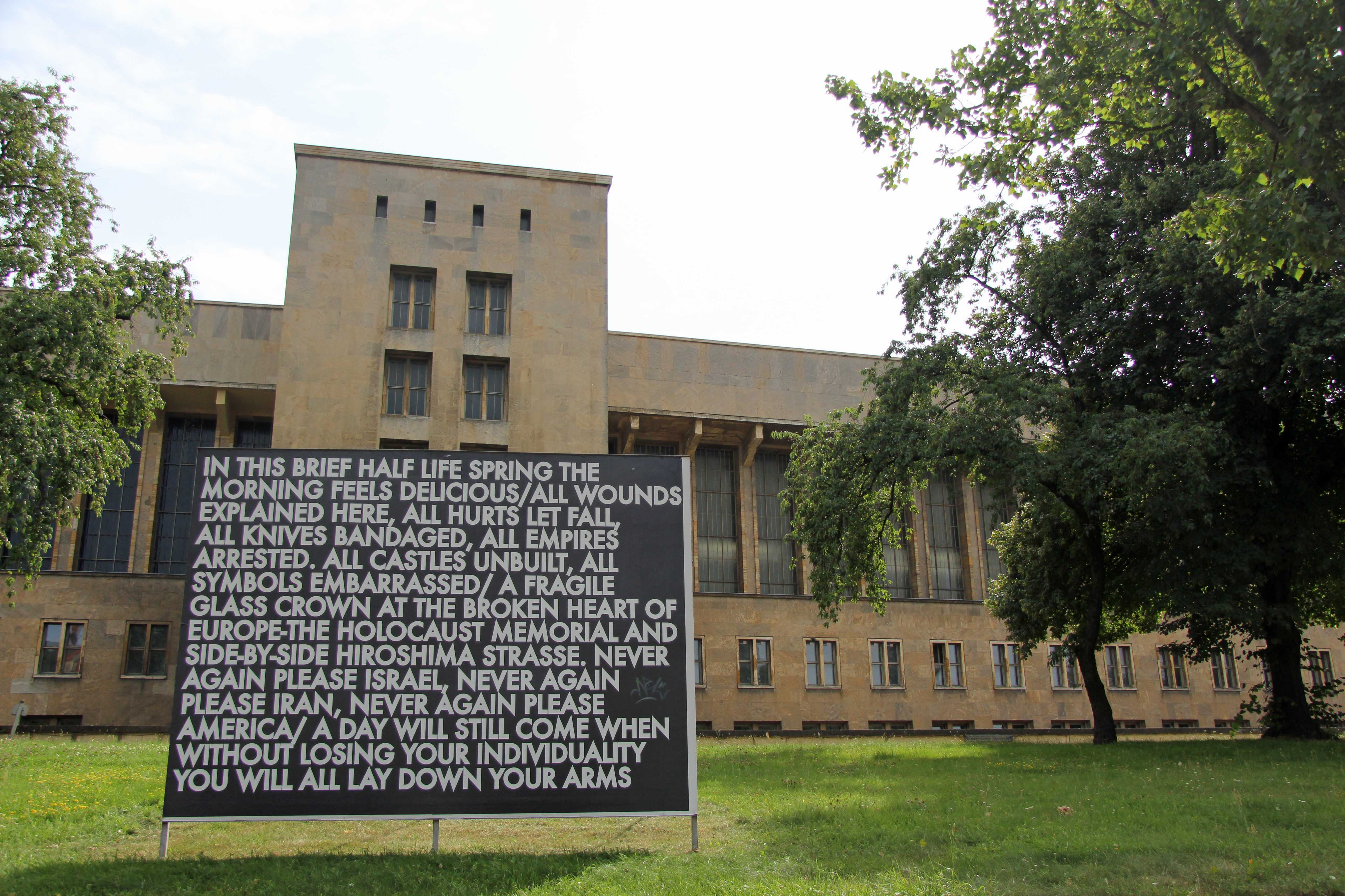 In this brief half life spring – a billboard installation by Robert Montgomery at the former Tempelhof Airport in Berlin