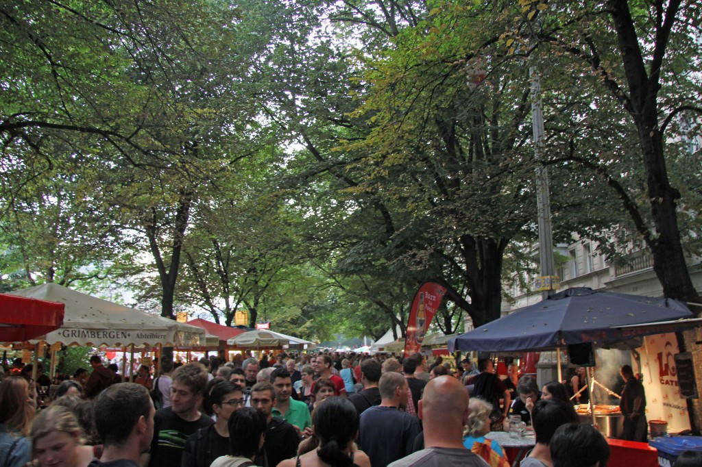 Crowds line Karl-Marx-Allee during the International Berlin Beer Festival (Internationales Berliner Bierfestival)