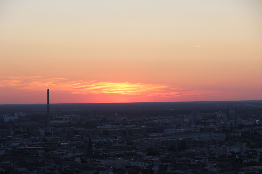Pink Light Over Berlin: The view from the Sun Terrace of the Park Inn on Alexanderplatz
