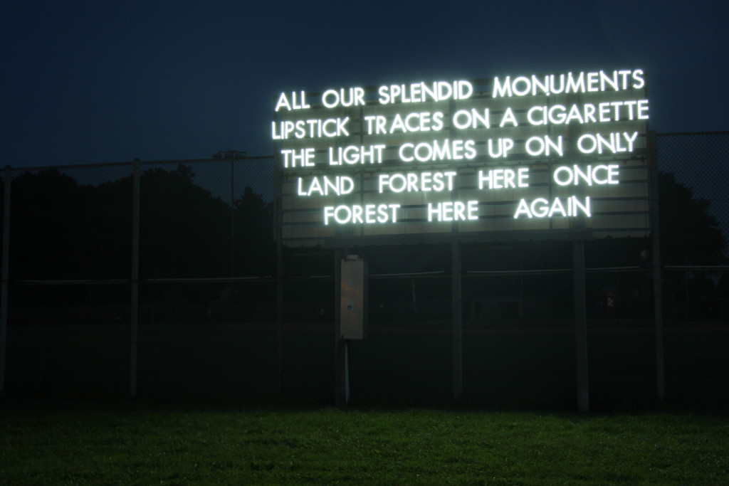 All our splendid monuments – a light installation by Robert Montgomery at the former Tempelhof Airport in Berlin