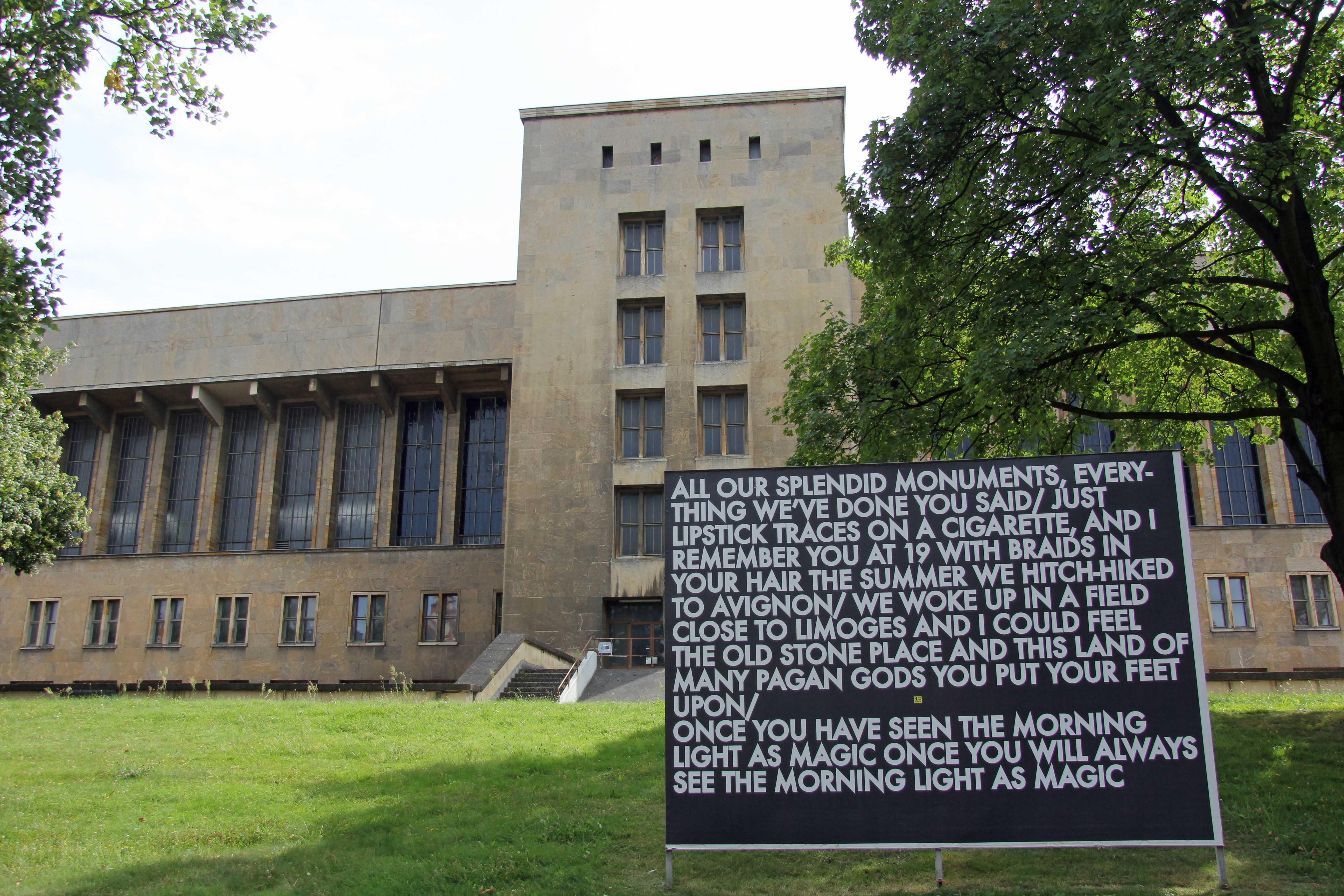 All our splendid monuments – a billboard installation by Robert Montgomery at the former Tempelhof Airport in Berlin