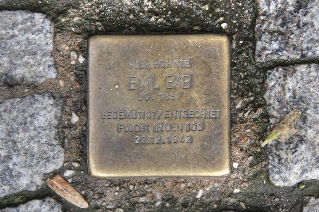 Stolpersteine 121: In memory of Emil Bab (Prenzlauer Allee 34) in Berlin