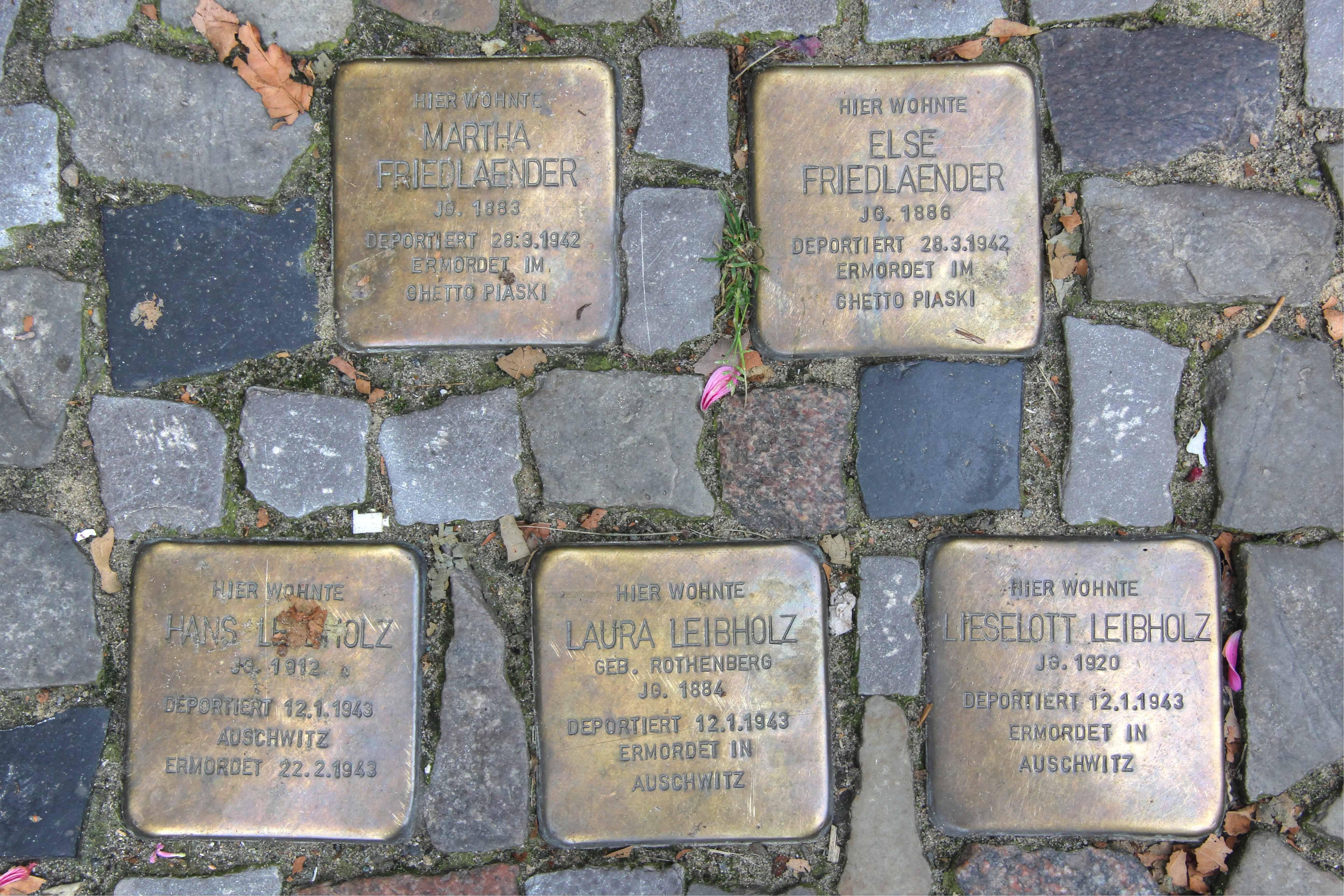 Stolpersteine 125: In memory of Martha Friedlaender, Else Friedlaender, Hans Leibholz, Laura Leibholz and Lieselott Leibholz (Danckelmannstrasse 44) in Berlin