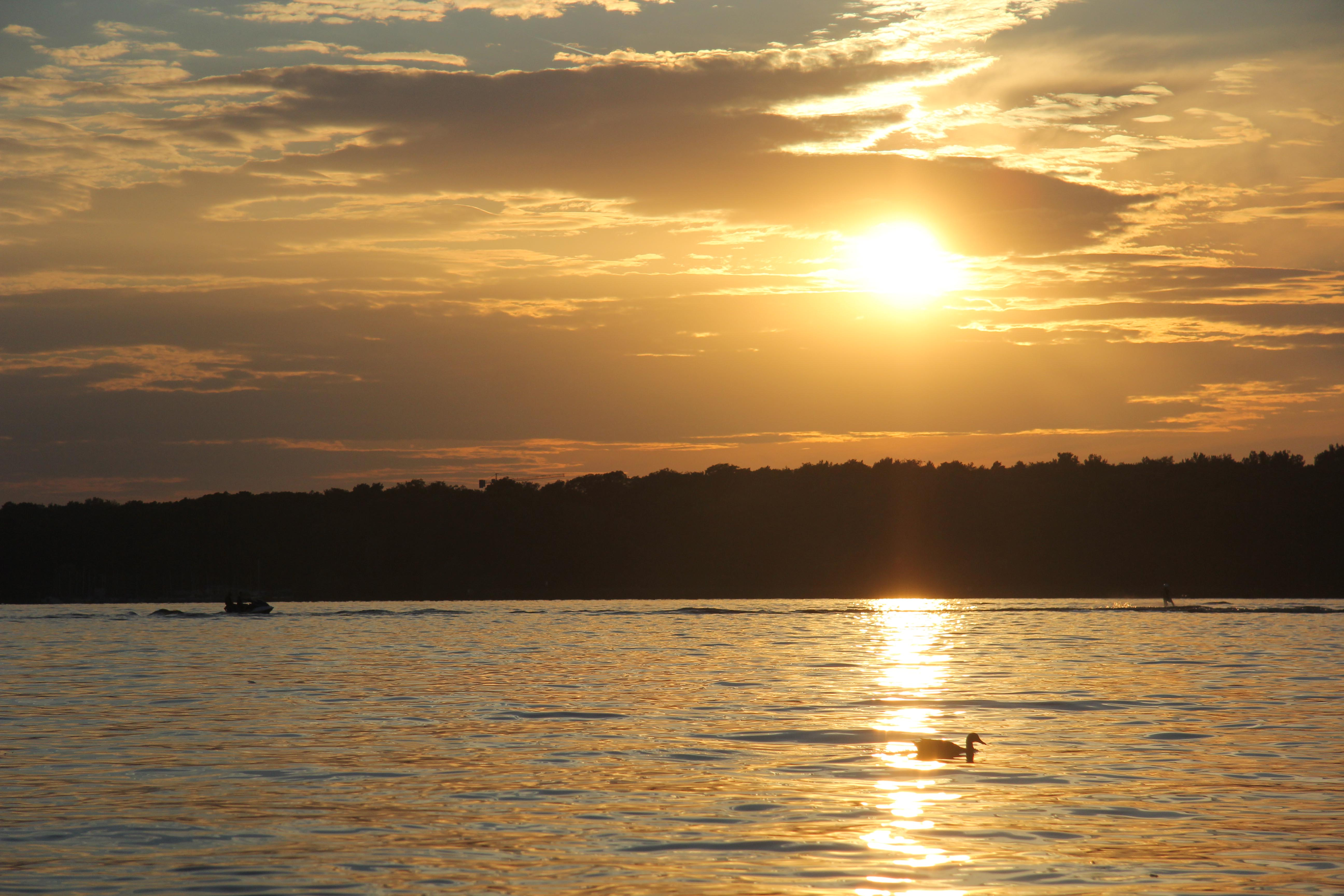 The sunset over the lake at Wannsee in Berlin