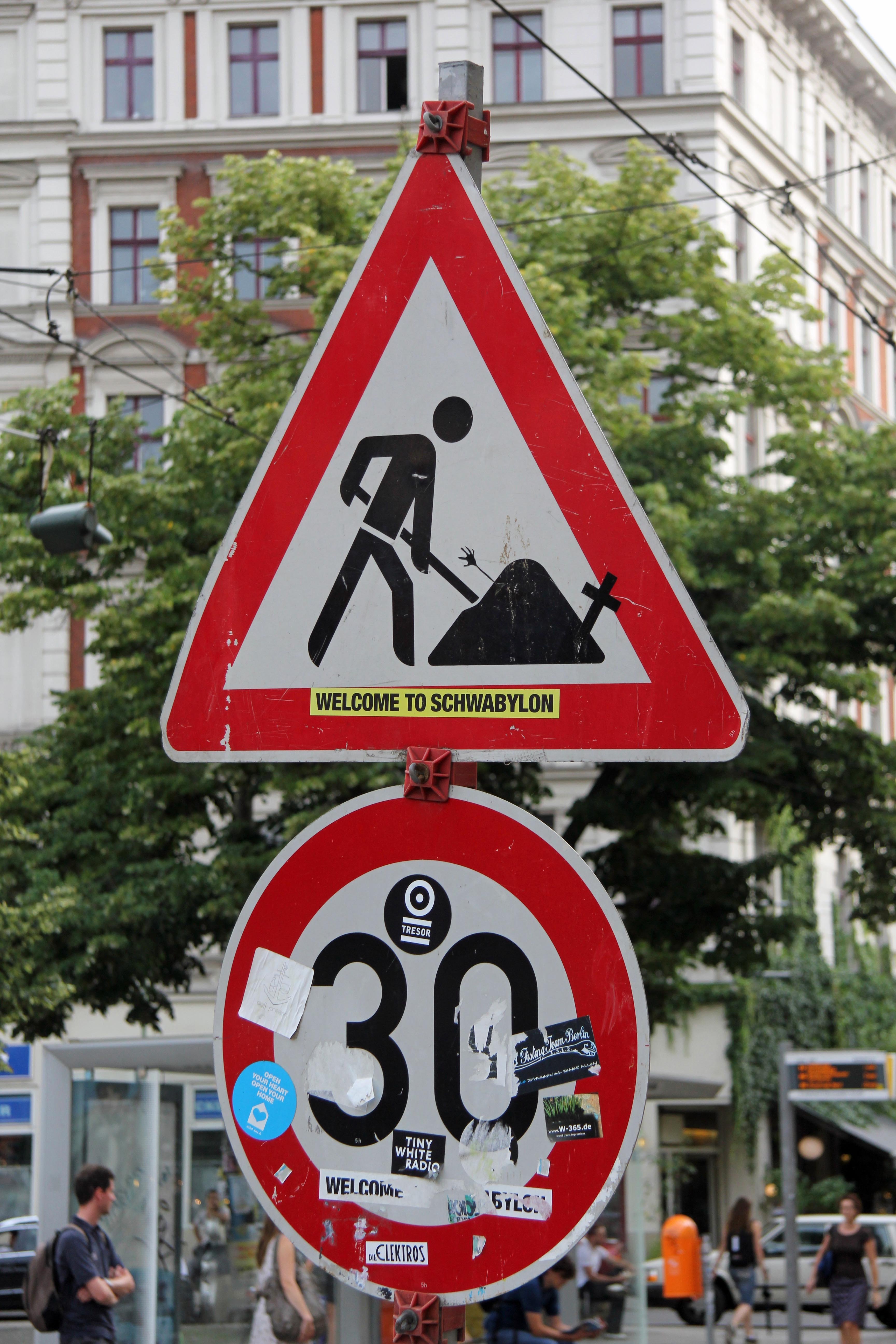 Welcome to Schwabylon: A street sign intervention - clever street (sign) in Berlin