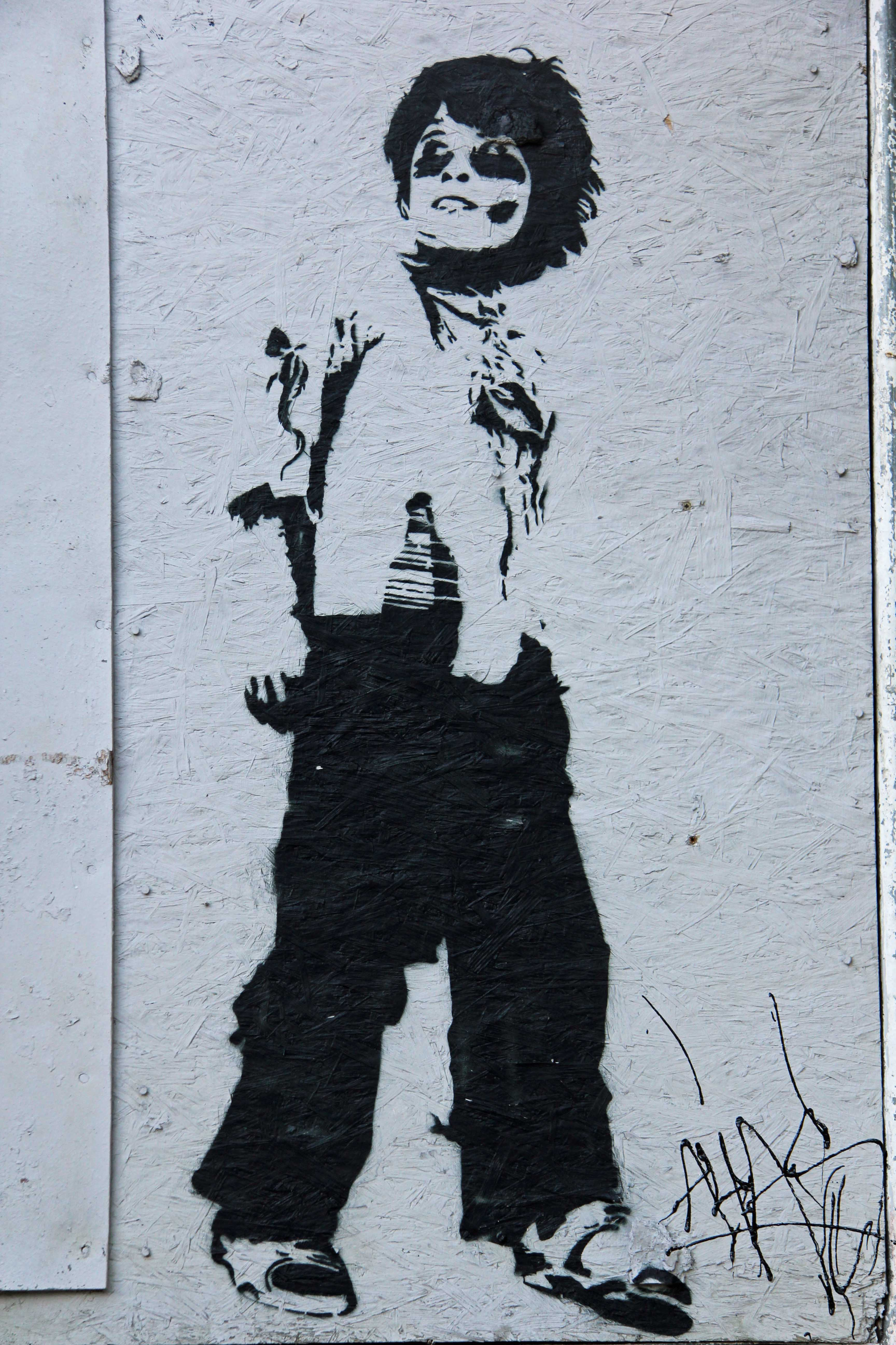 Boy With Grenade - Street Art by ALIAS in Berlin