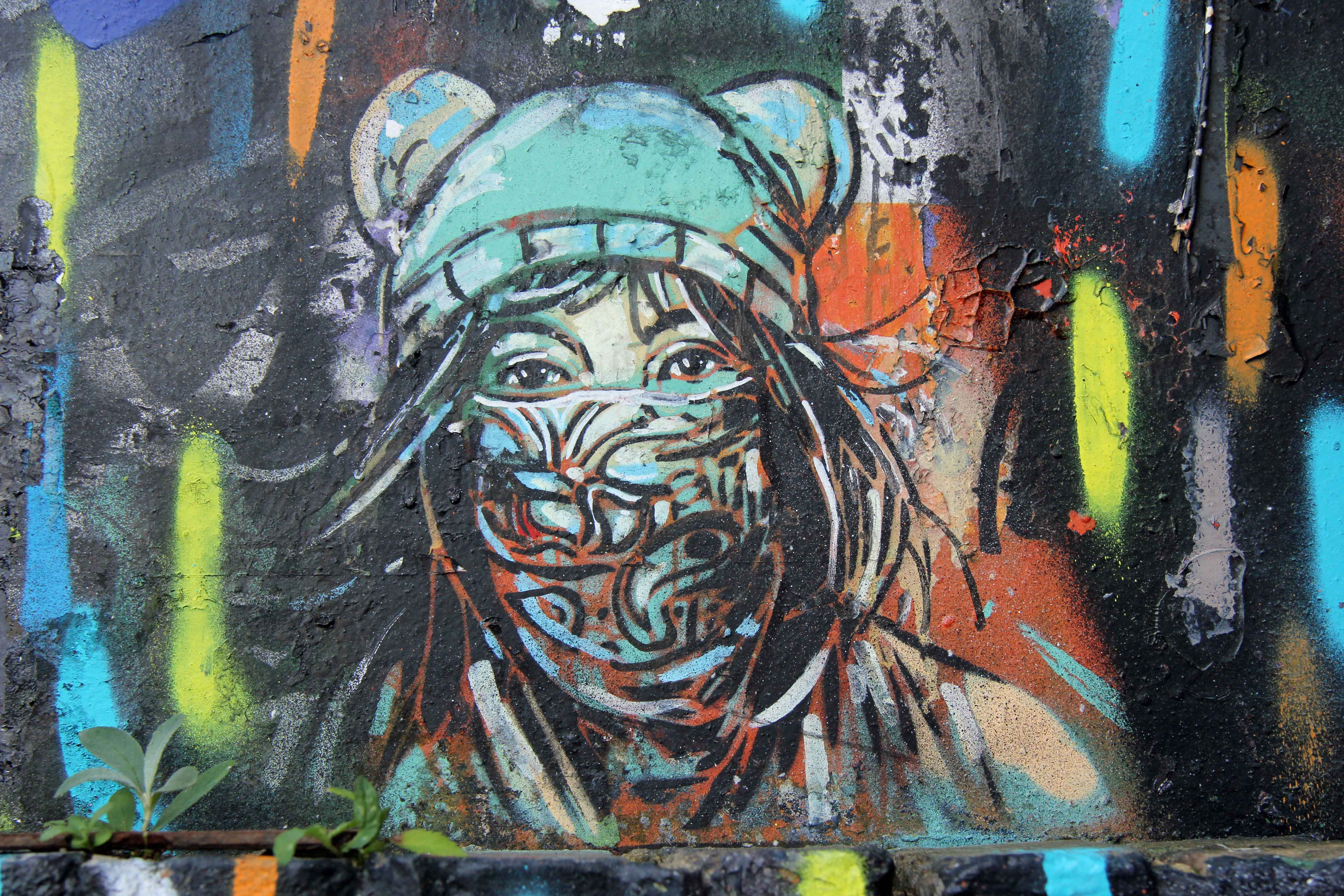 Girl in a bandana (Nina Guemy) - Street Art by Alicé in East London