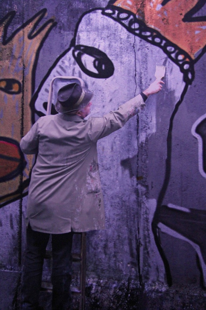 An unlikely Street Artist in the Asisi Panorama: Die Mauer (The Wall) and exhibit near Checkpoint Charlie in Berlin