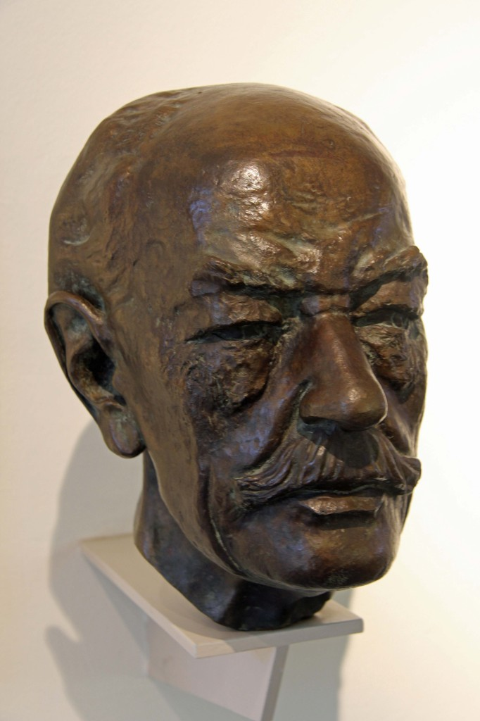 A sculpture of the head of a Botanist on display at the Botanical Museum (Botanisches Museum) in Berlin