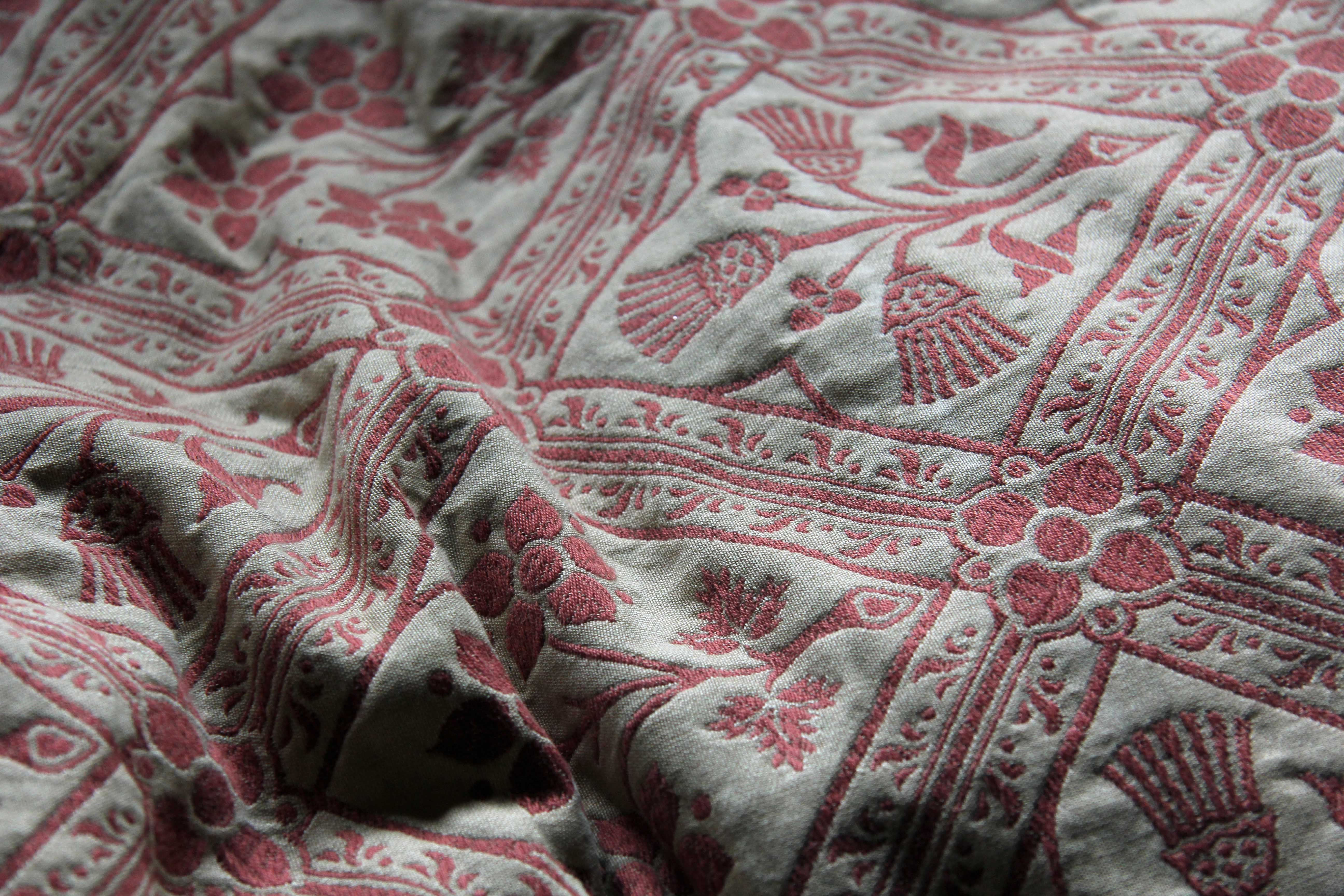 The bedspread in the Marquess of Bute's bedroom at Castell Coch (Red Castle) near Cardiff
