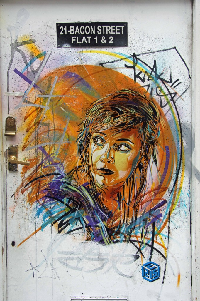 Girl With Colours In Her Hair - Street Art by C215 in East London