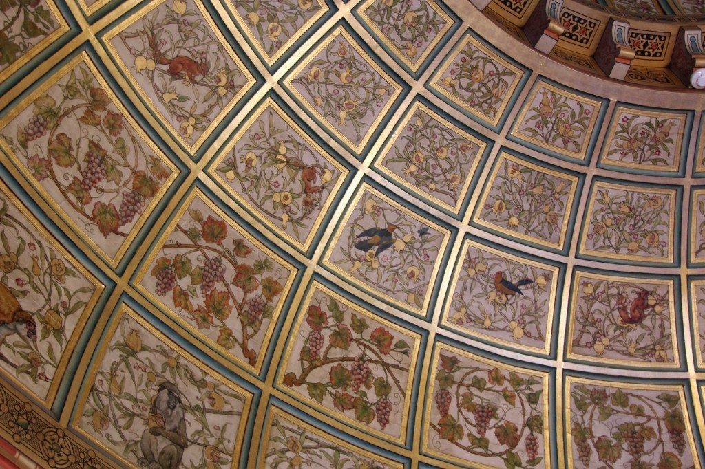 Decoration on the double-domed ceiling of Lady Bute's bedroom at Castell Coch (Red Castle) near Cardiff