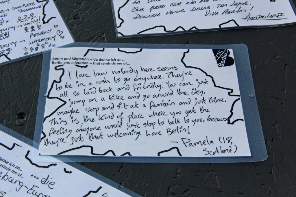 A Berlin story pinned to the wall near the map on the Schlossplatz, the City of Diversity Exhibit part of Berlin's 775th Anniversary celebrations