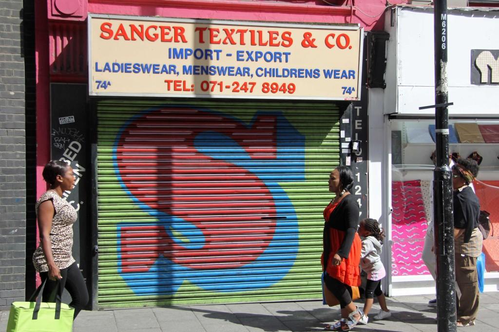 S - Street Art by EINE on an East London Shutter