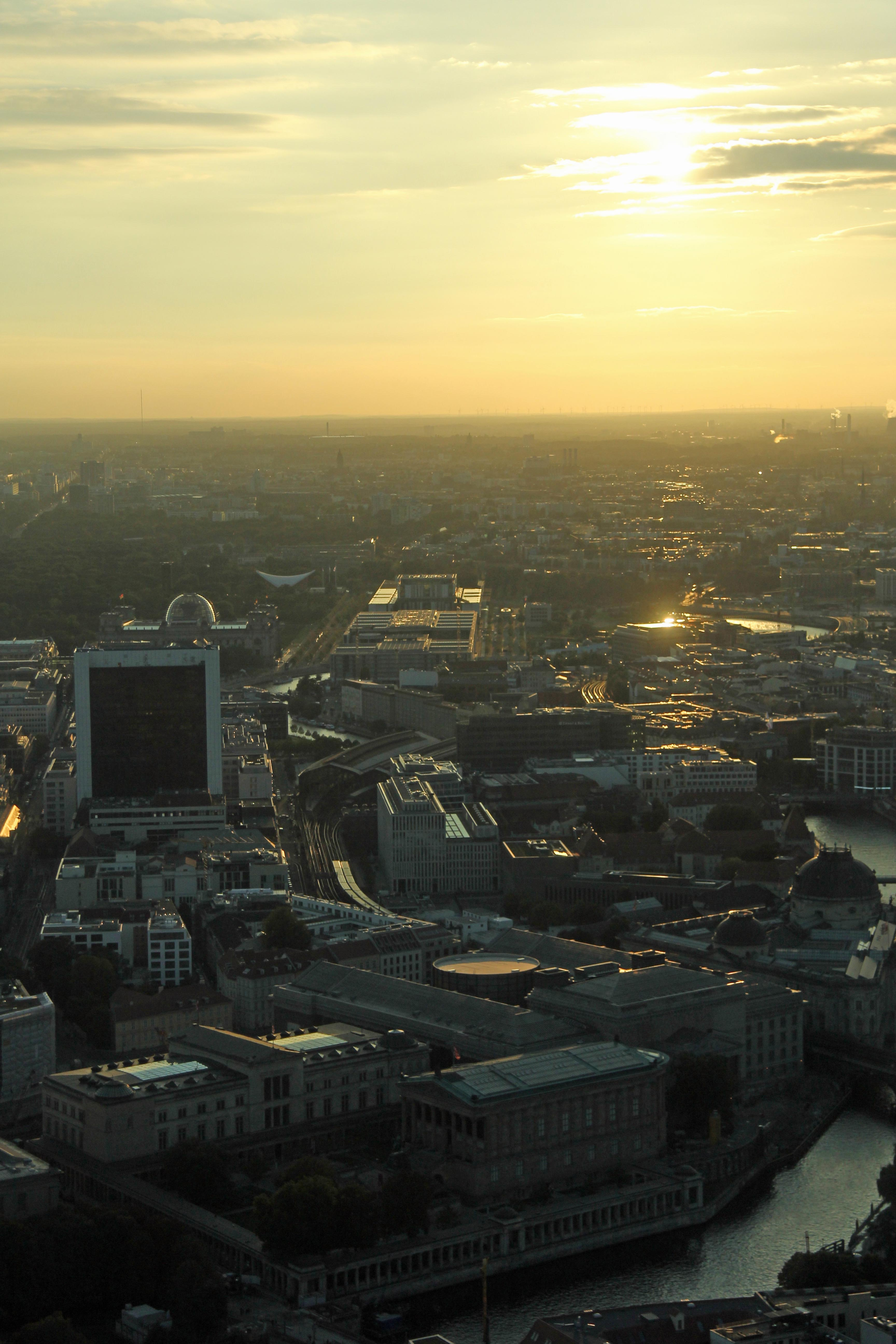 Golden light over Berlin from the Fernehturm (TV Tower) at Alexanderplatz
