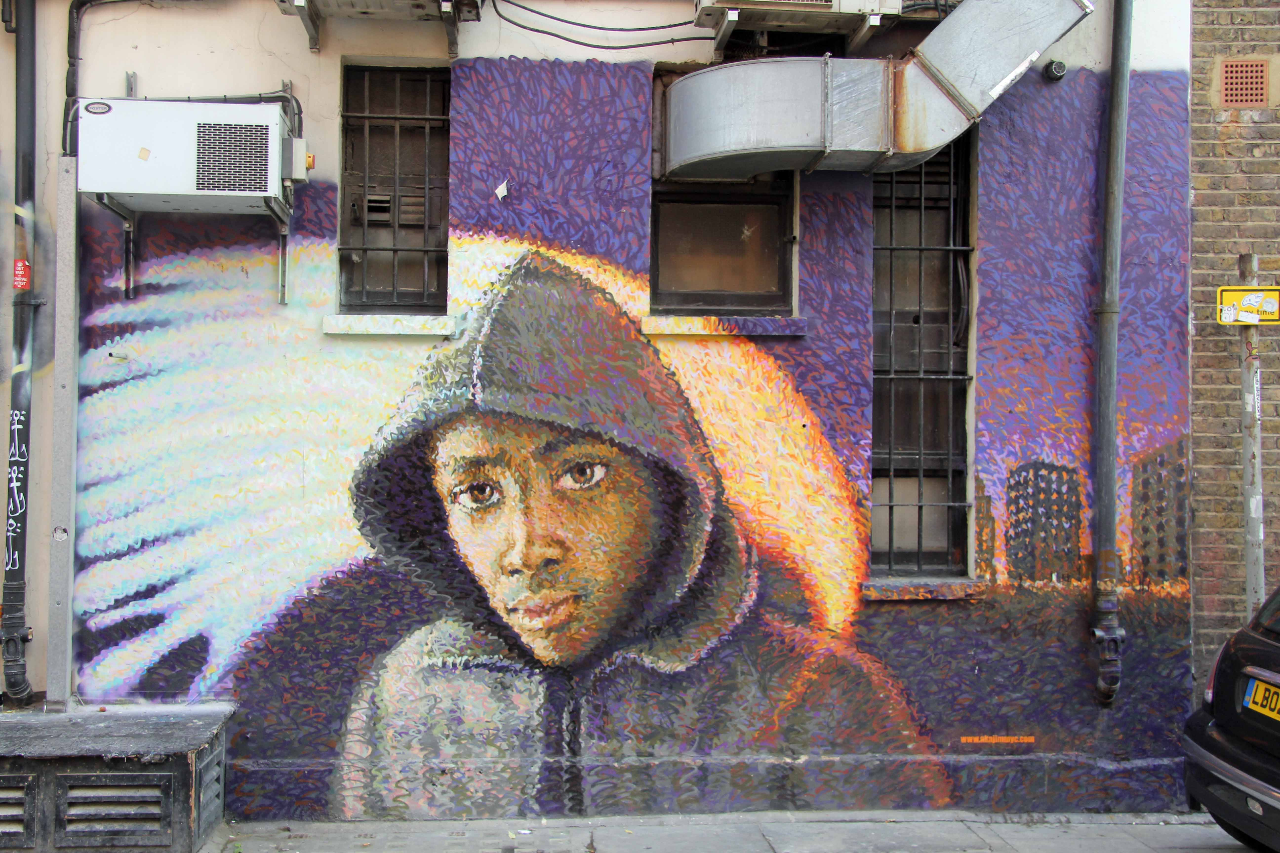Boy In Da Hood: Pointilist Street Art by Jimmy C in London