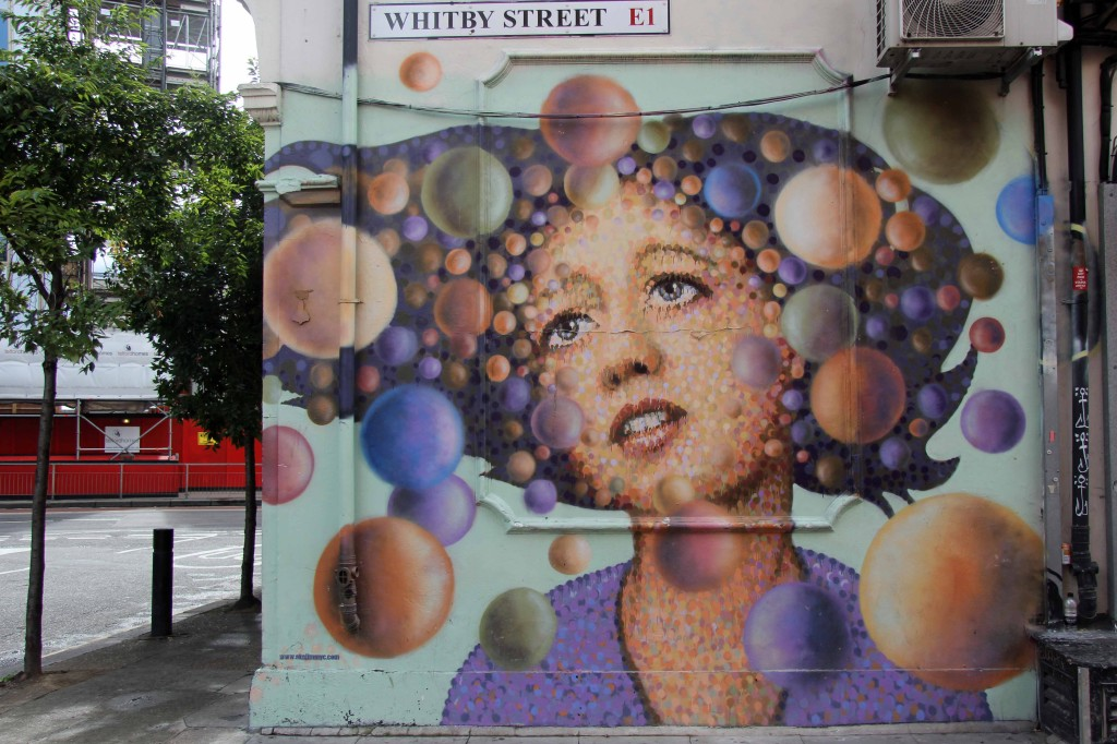 Girl With Spheres: Pointilist Street Art by Jimmy C in London