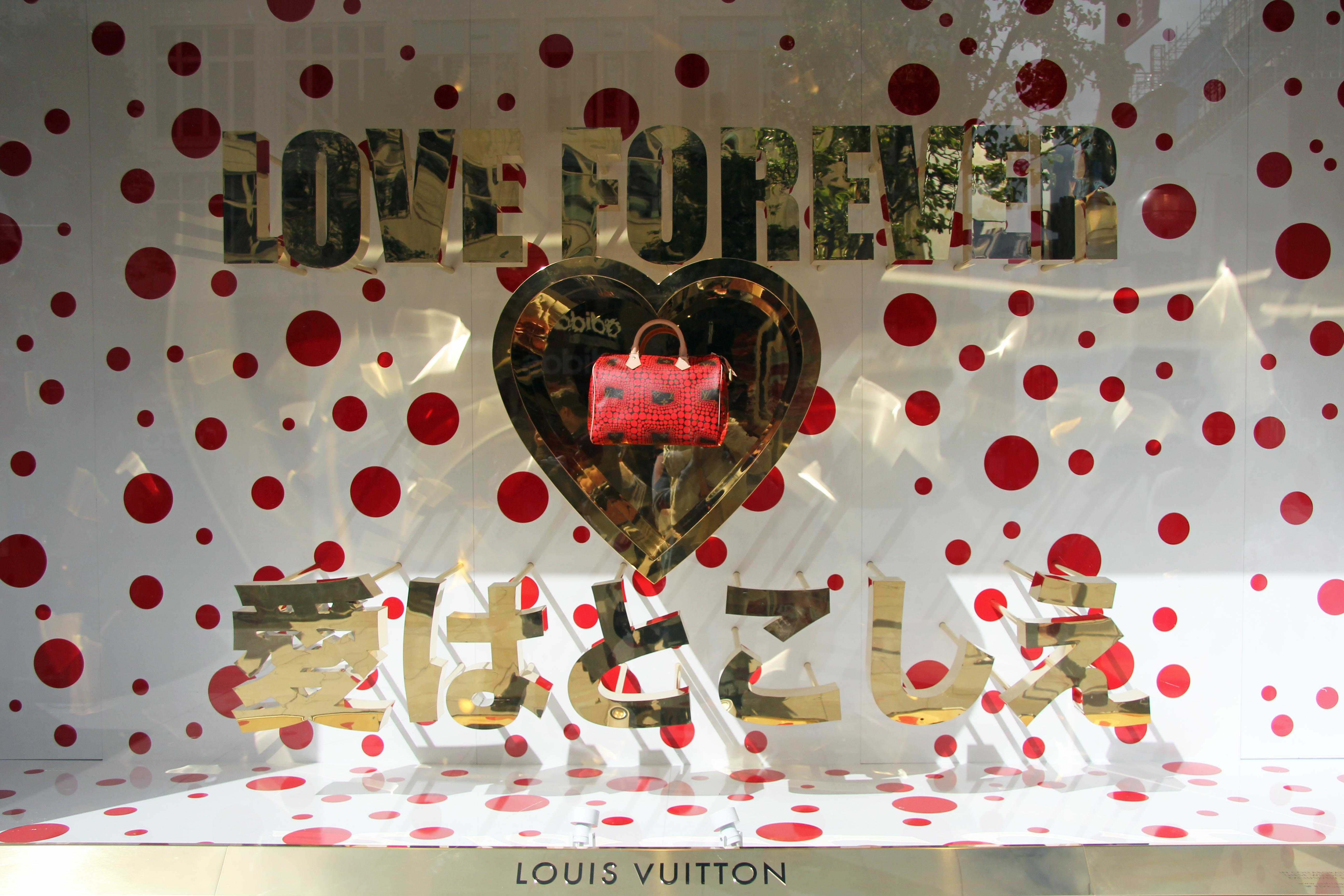 Love Forever: A Louis Vuitton handbag window display at Selfridges in London