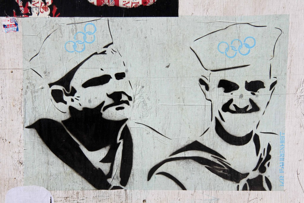 Dick und Doof (Laurel and Hardy) Olympians in Sailor Suits: Street Art by Mr. Fahrenheit in East London
