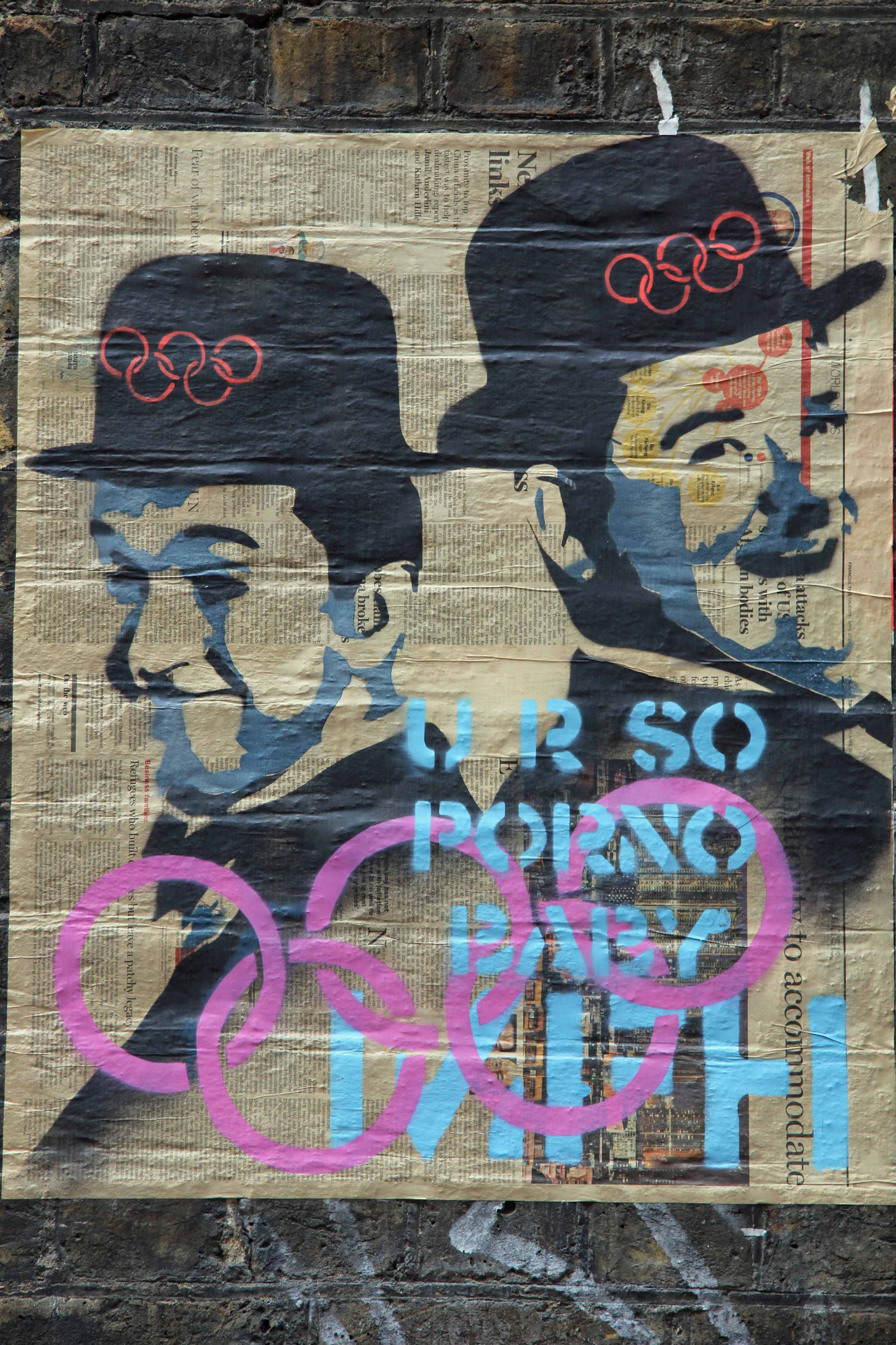 Dick und Doof (Laurel & Hardy) do the Olympics - Street Art by Mr. Fahrenheit in East London