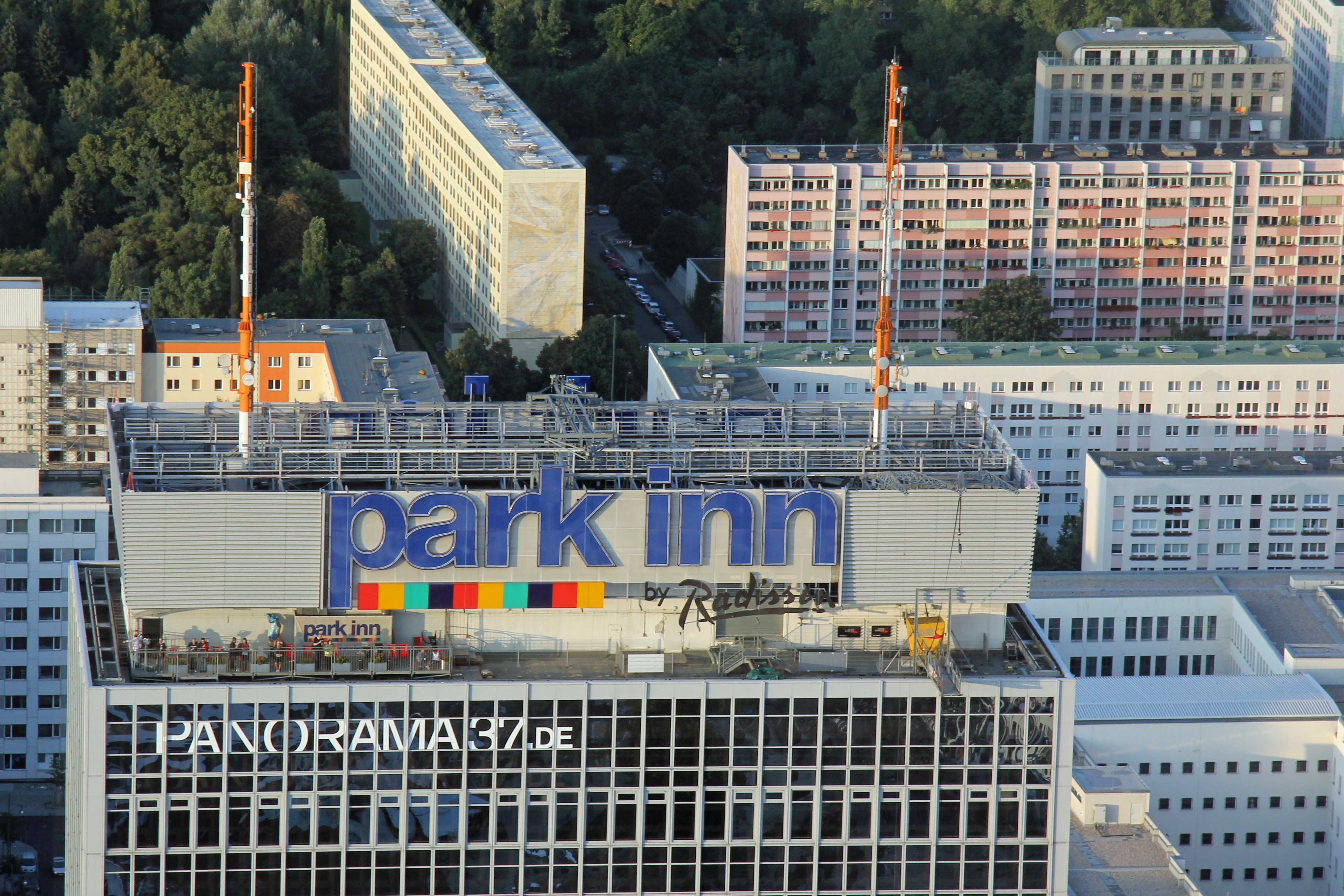 The Park Inn Sun Deck (Dachterasse) in Berlin from the Fernehturm (TV Tower) at Alexanderplatz