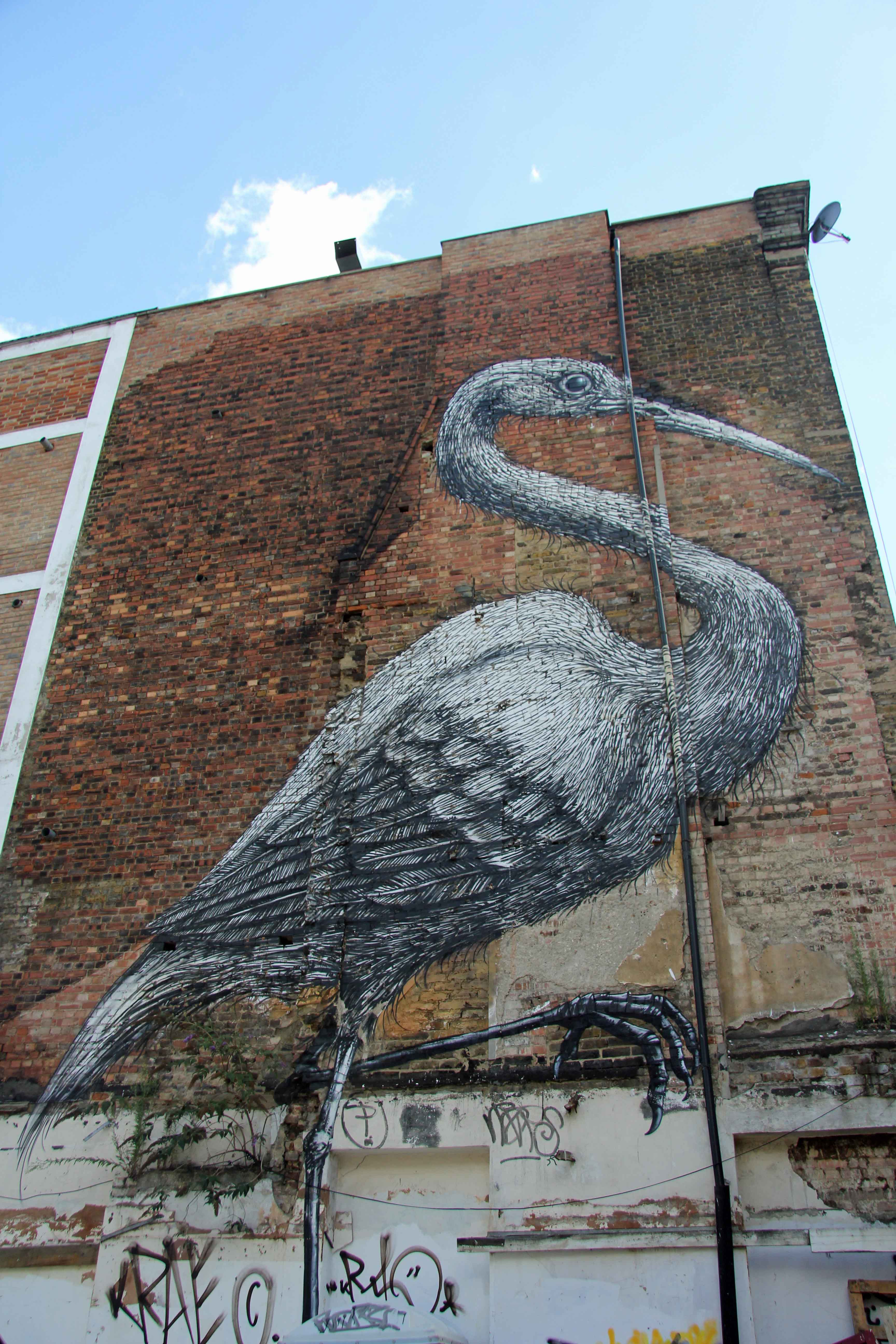 Giant Crane - Street Art by ROA in East London